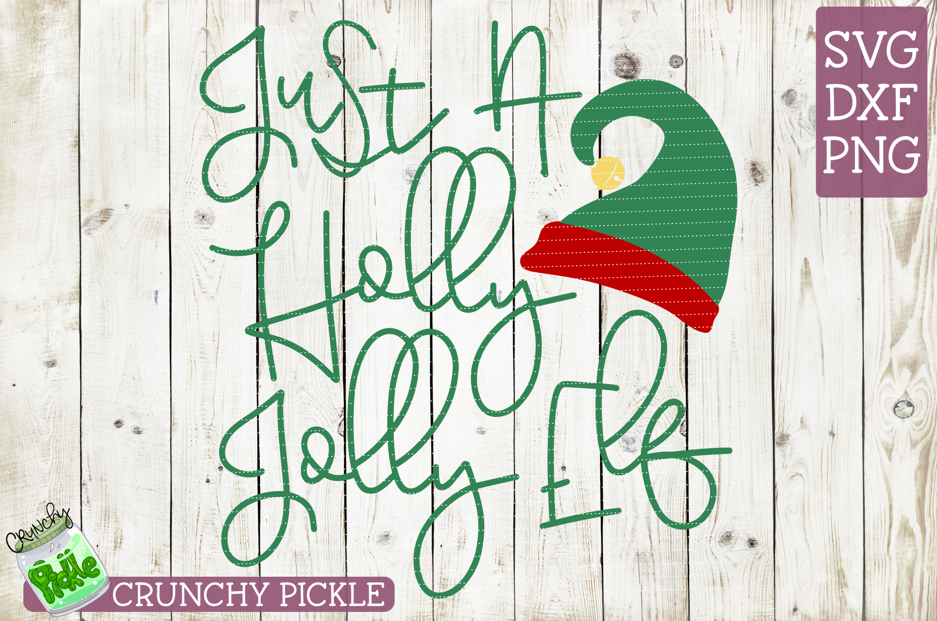 Just A Holly Jolly Elf Christmas SVG example image 2