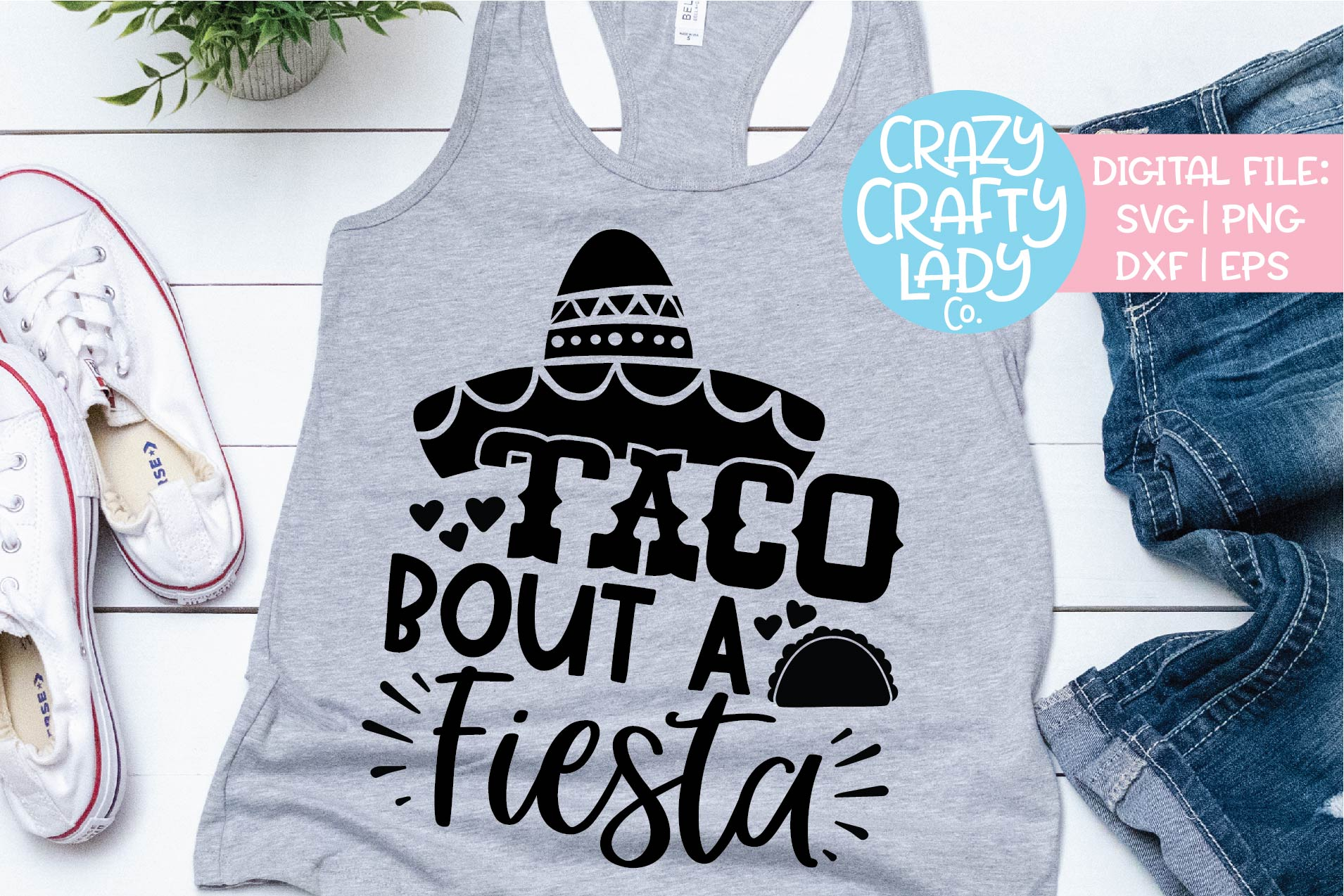 Taco Bout a Fiesta Cinco de Mayo SVG DXF EPS PNG Cut File example image 1