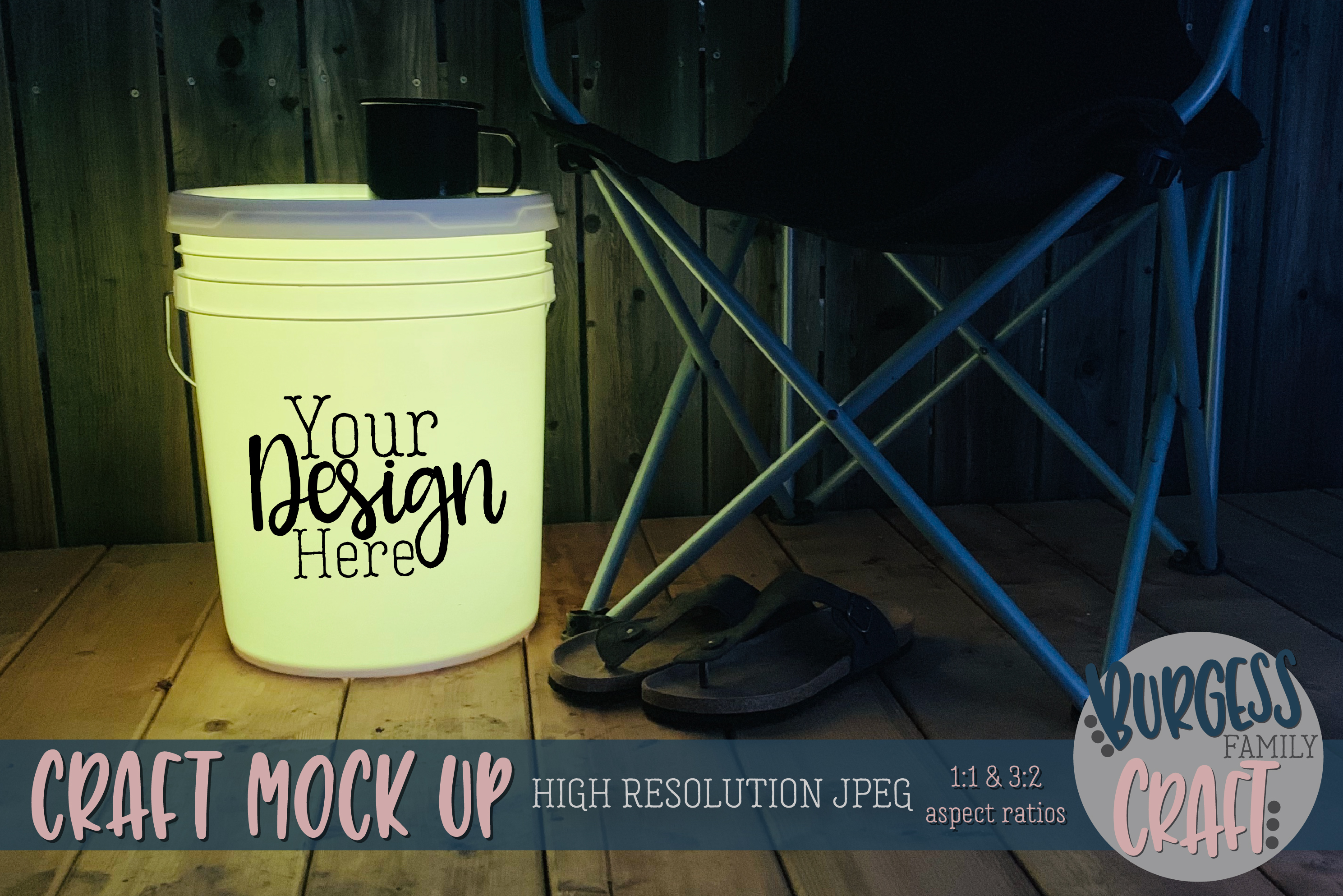 Bucket light table yellow Craft mock up|High Resolution JPEG example image 1