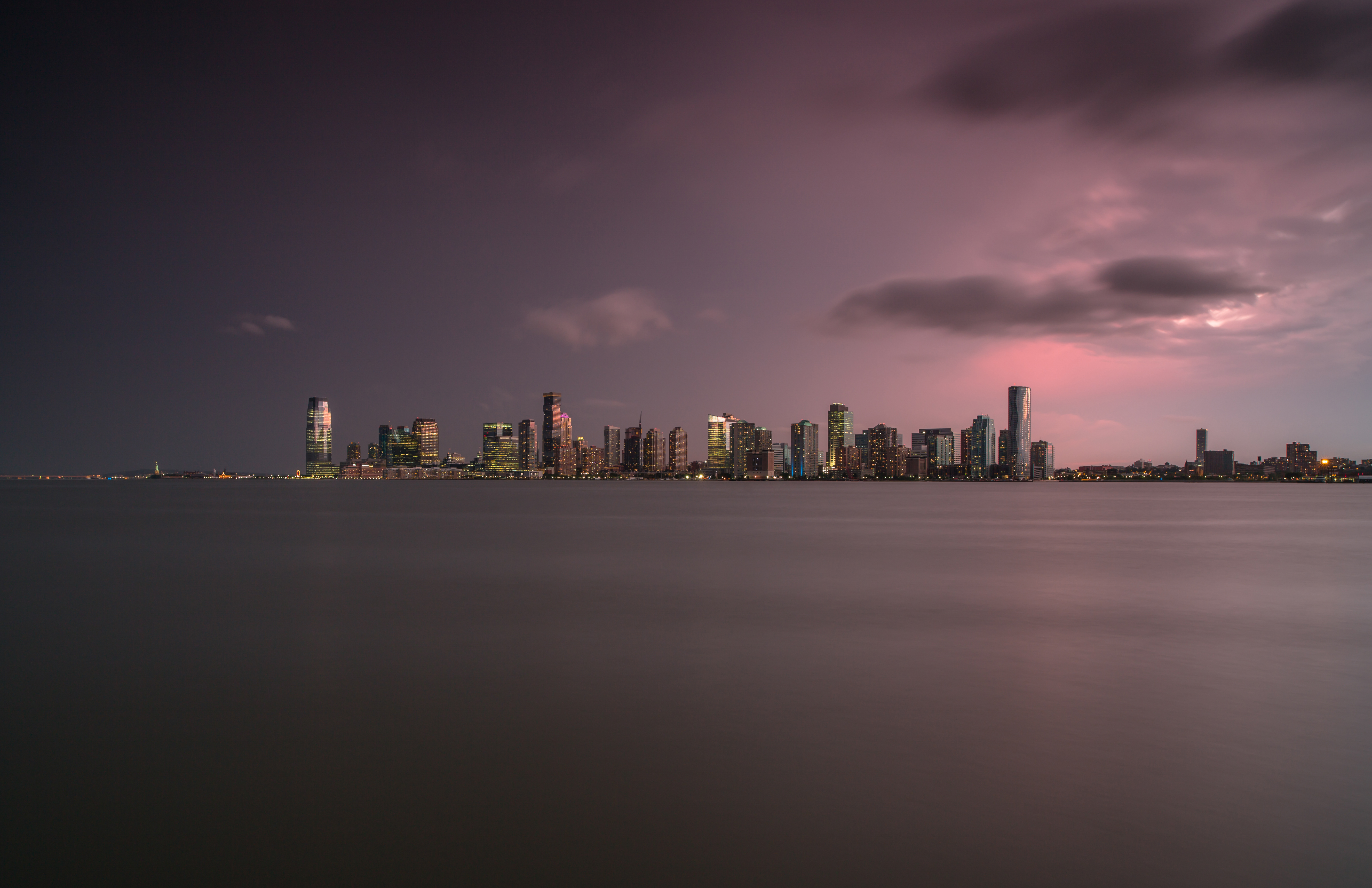 Jersey city view during sunset on a stormy day example image 1
