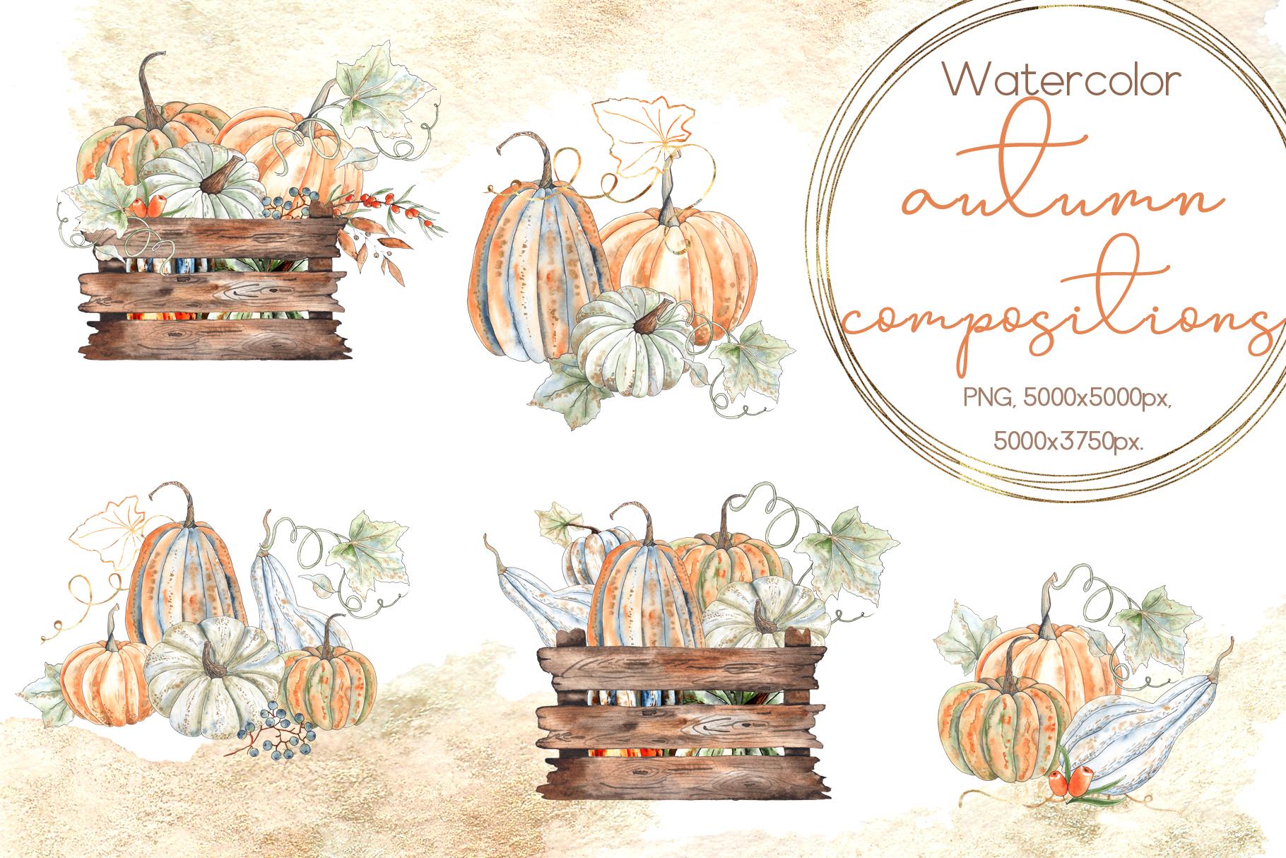 Watercolor autumn BUNDLE example image 17