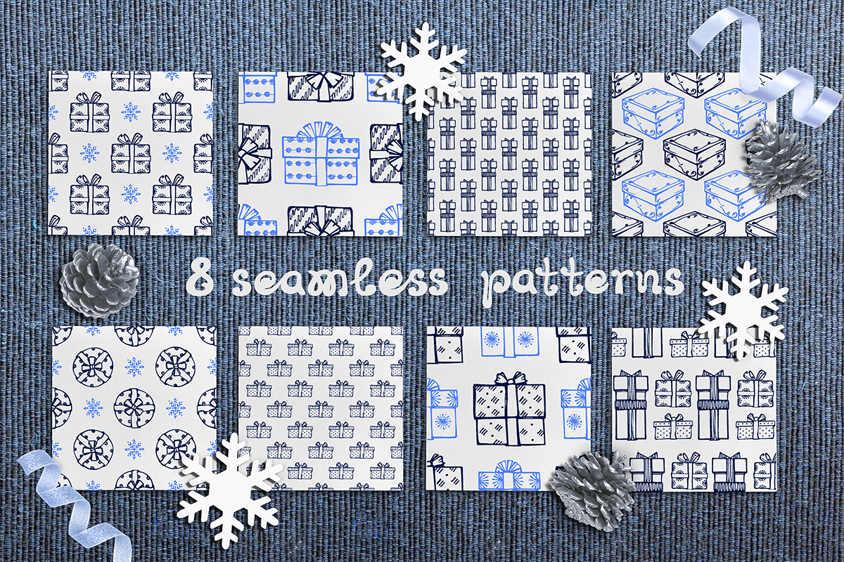Hand drawn Christmas gift boxes, seamless patterns and cards example image 2