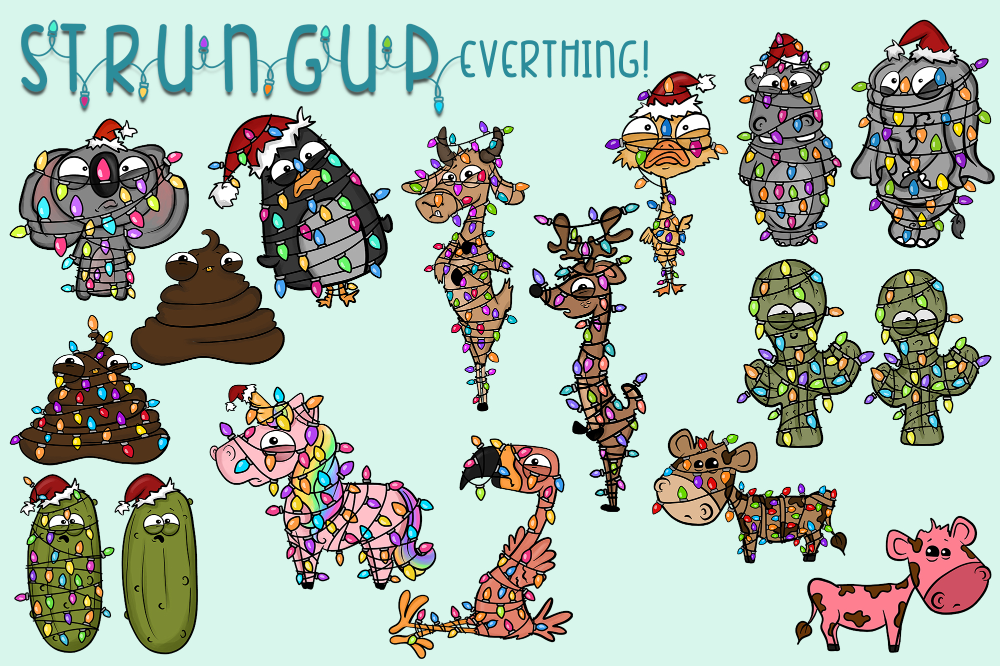 Strung Up Animals|Holiday Illustrations| Xmas Lights|Extras example image 3
