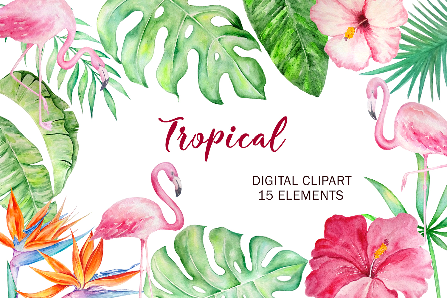 Tropical Watercolor Clipart Set example image 1