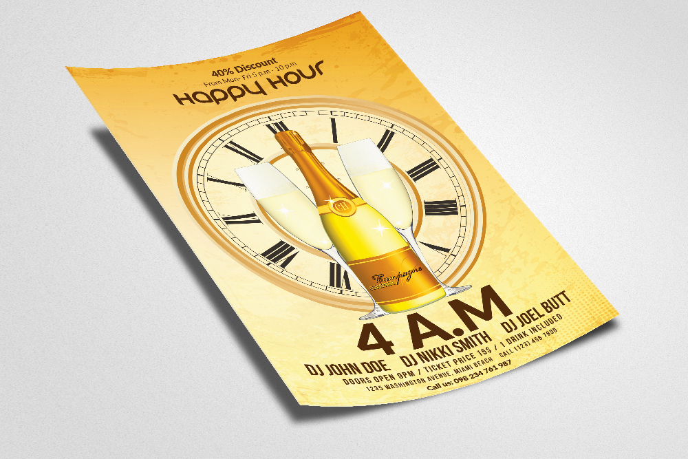 Happy Hour Flyer Template 10 example image 3