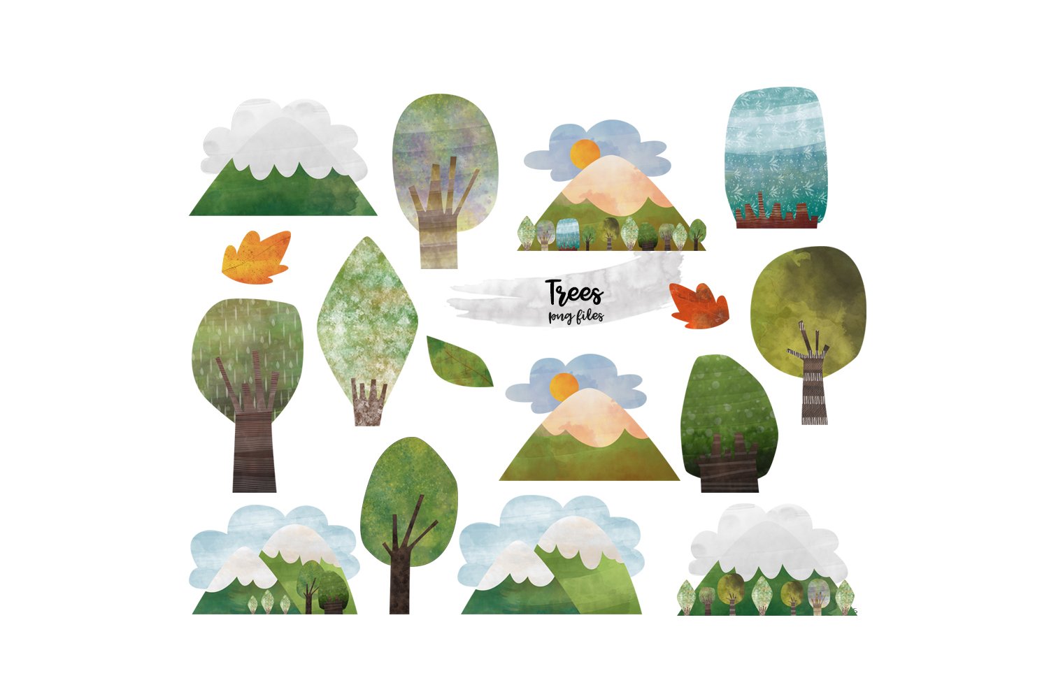 Watercolor Mountain Tree clipart. Mountain and tree clipart example image 11
