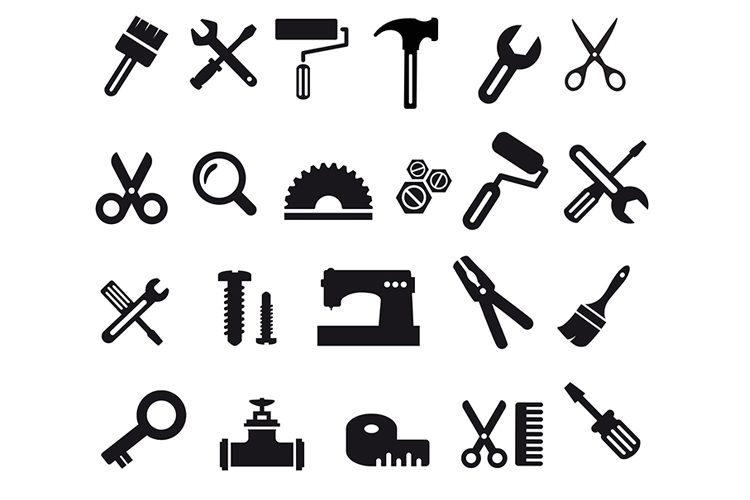 A set of flat construction tools example image 1