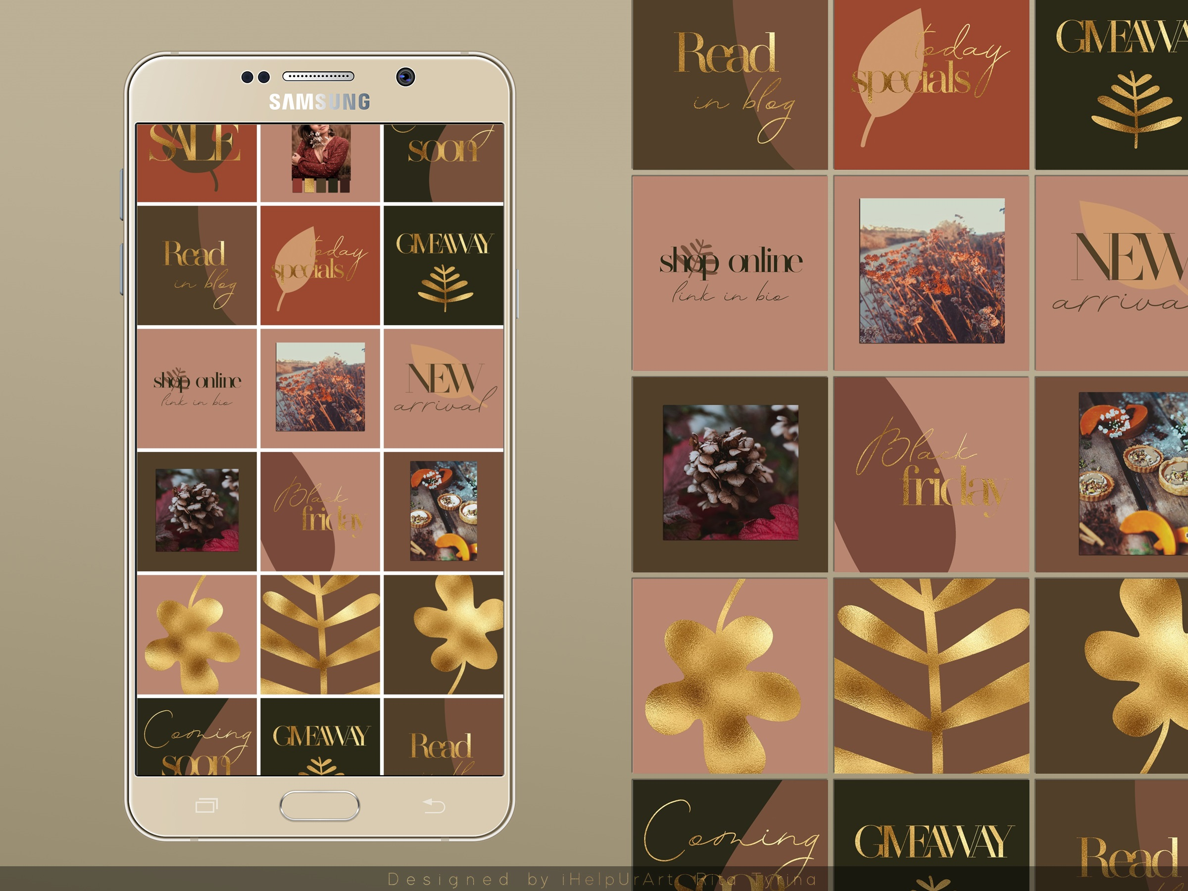 Instagram Posts Pack - Terracotta and Gold example image 3