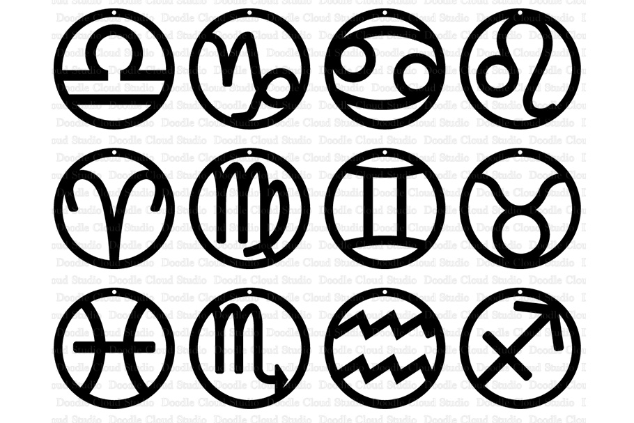 Zodiac Earrings Signs SVG, Earrings Astrology Sign SVG Files example image 1