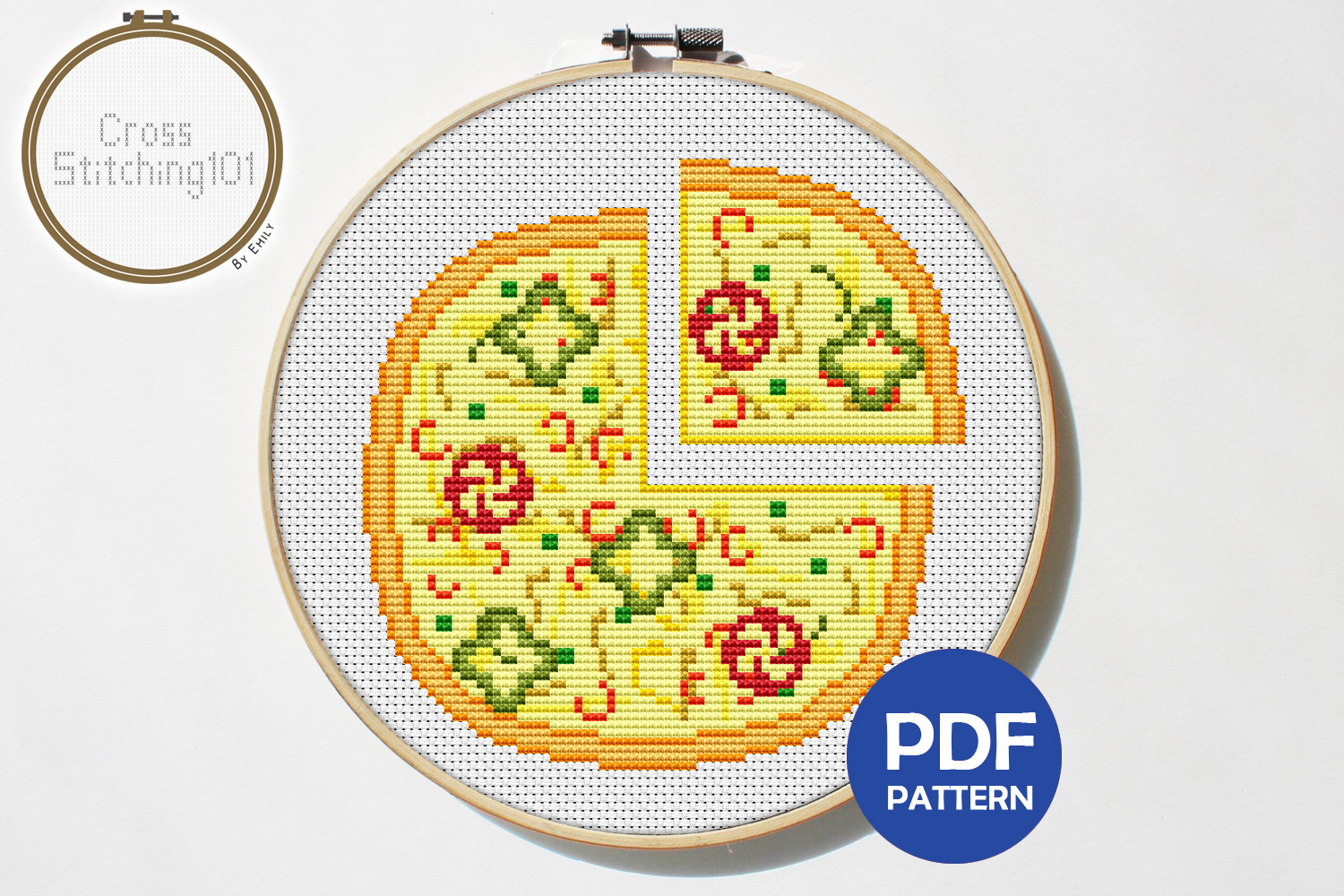Pizza Cross Stitch Pattern - Instant Download PDF example image 1