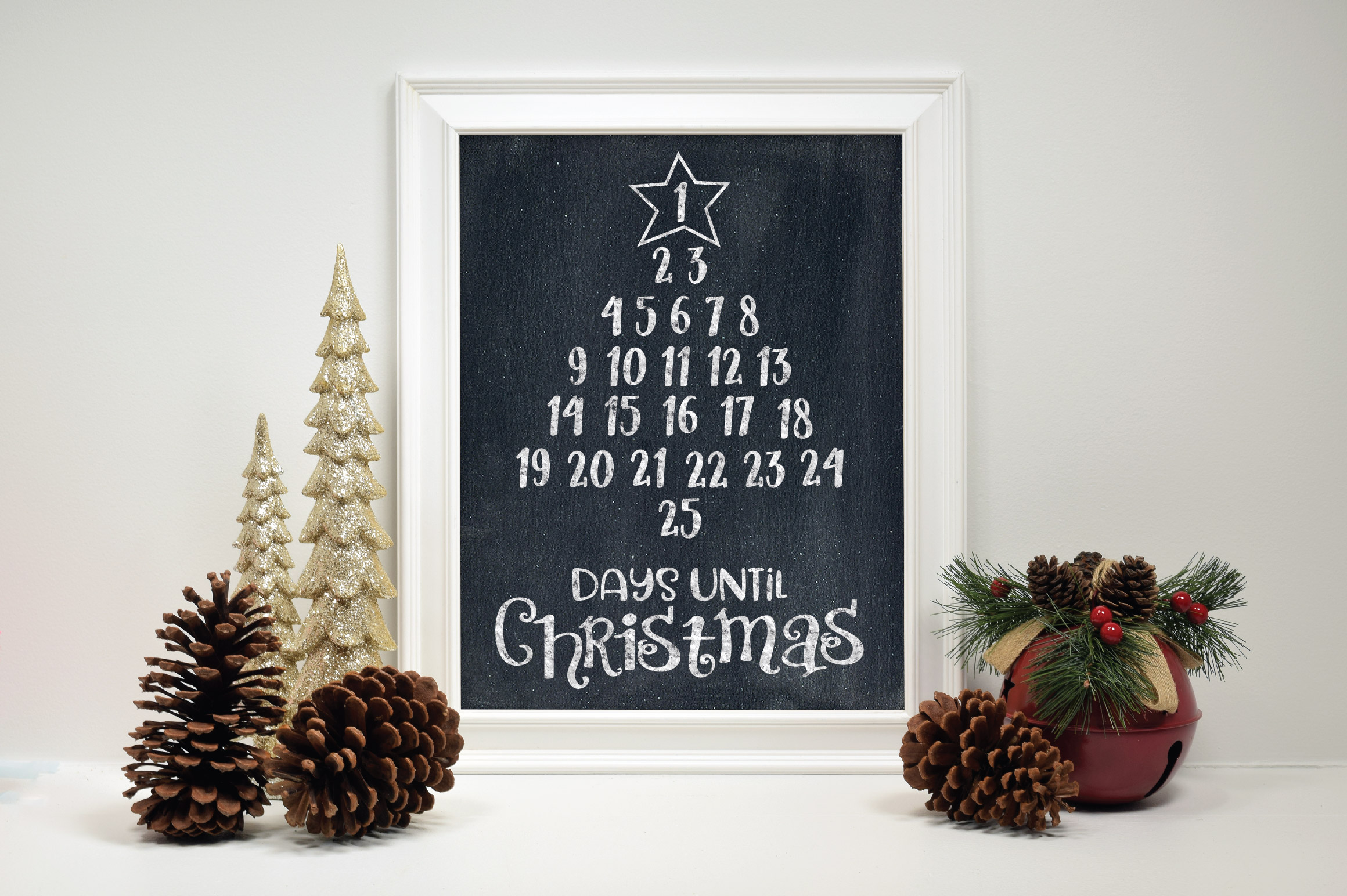 Christmas Countdown SVG Cut File - Christmas Number Tree example image 3