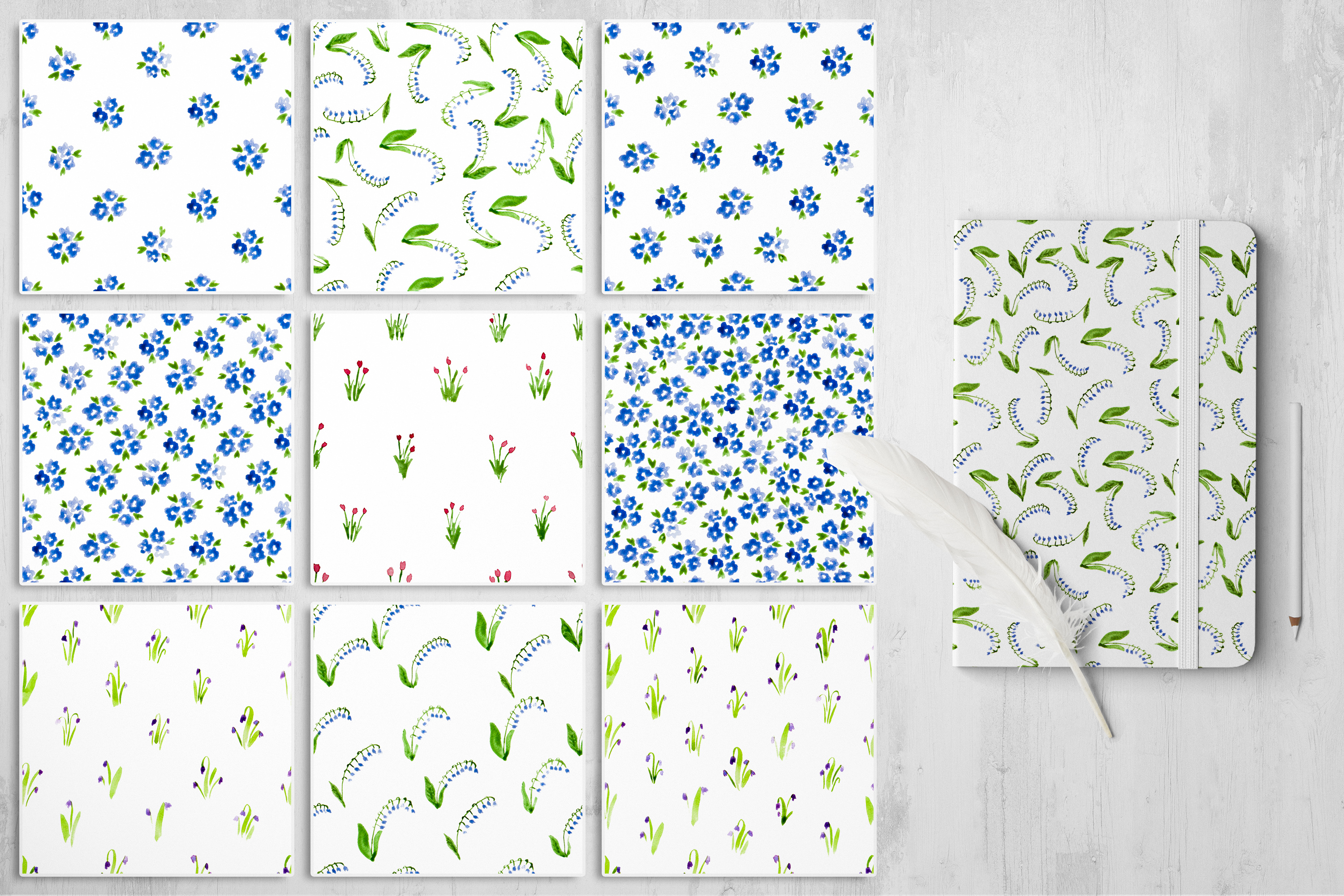 Mille Fleur - 36 watercolor patterns example image 3