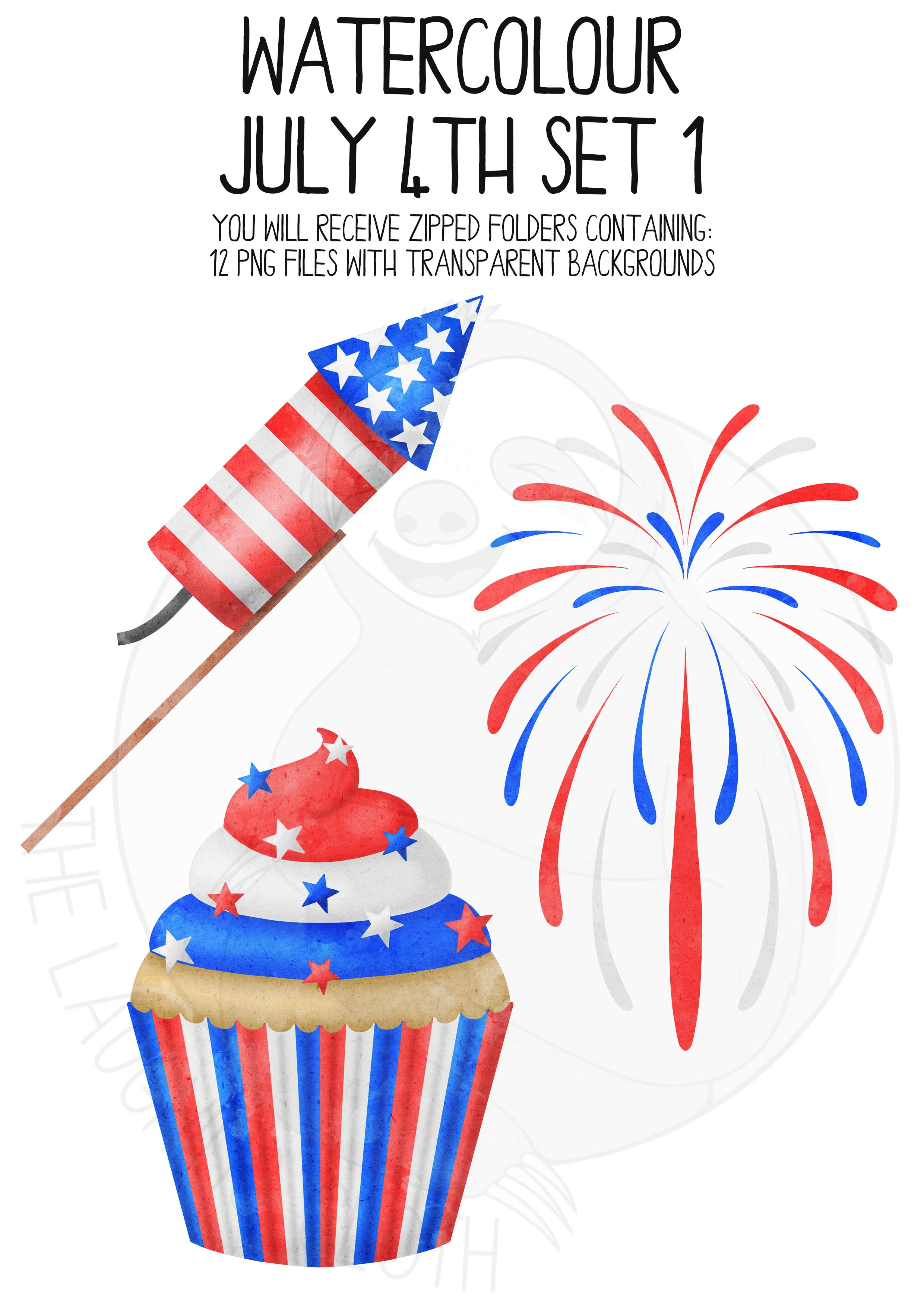 Watercolor July 4th Clip Art Set example image 4