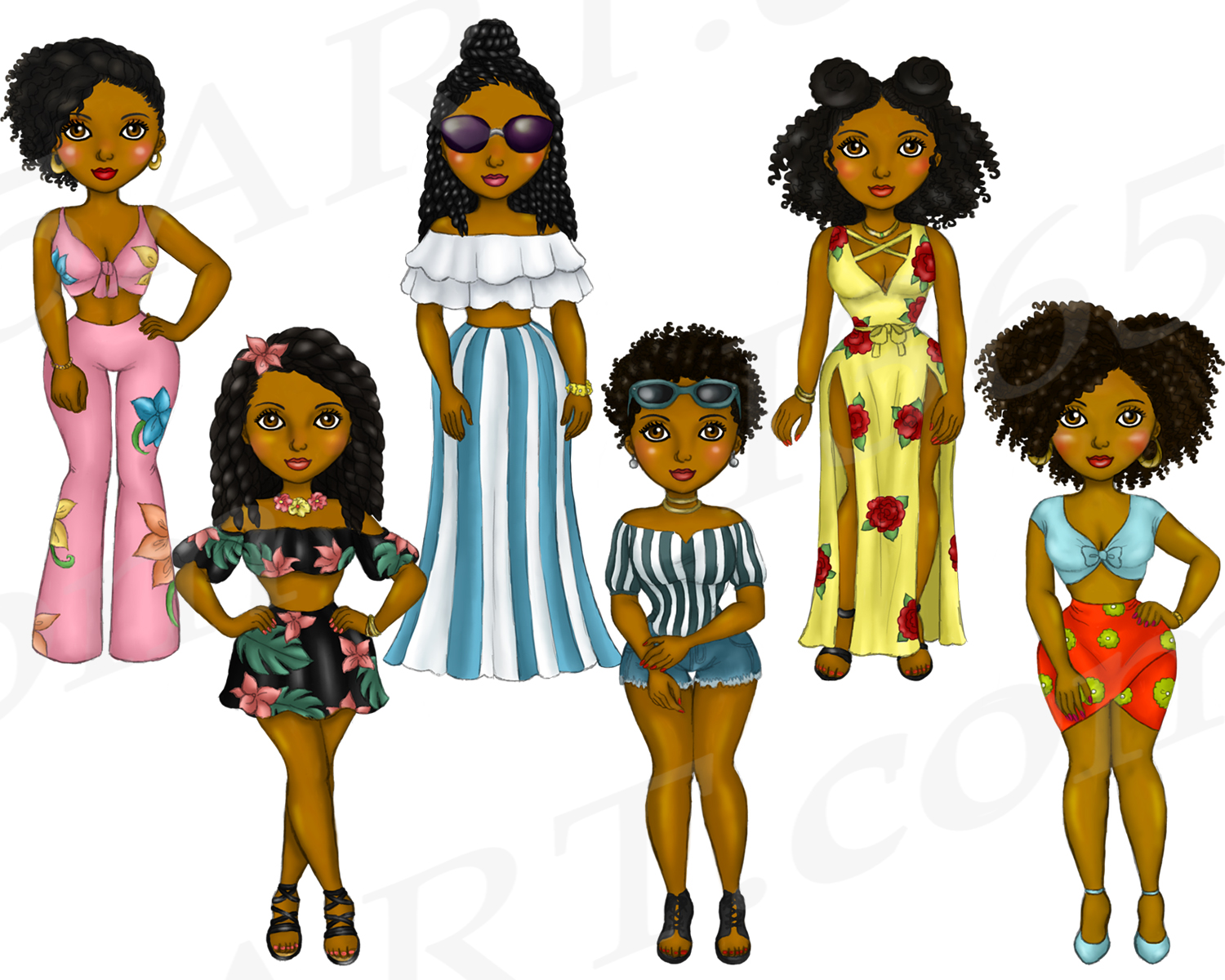 Summer Fashion Girls Planner Clipart, Natural Hair PNG example image 4
