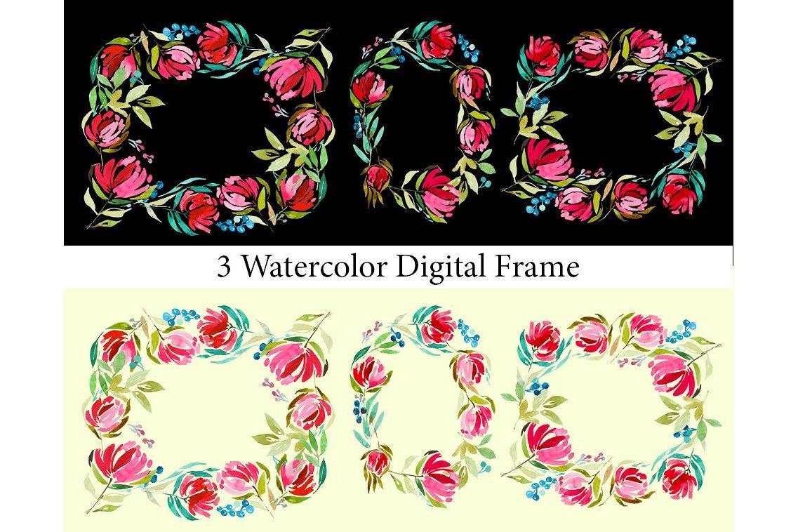 3 Watercolor Digital Frames example image 6