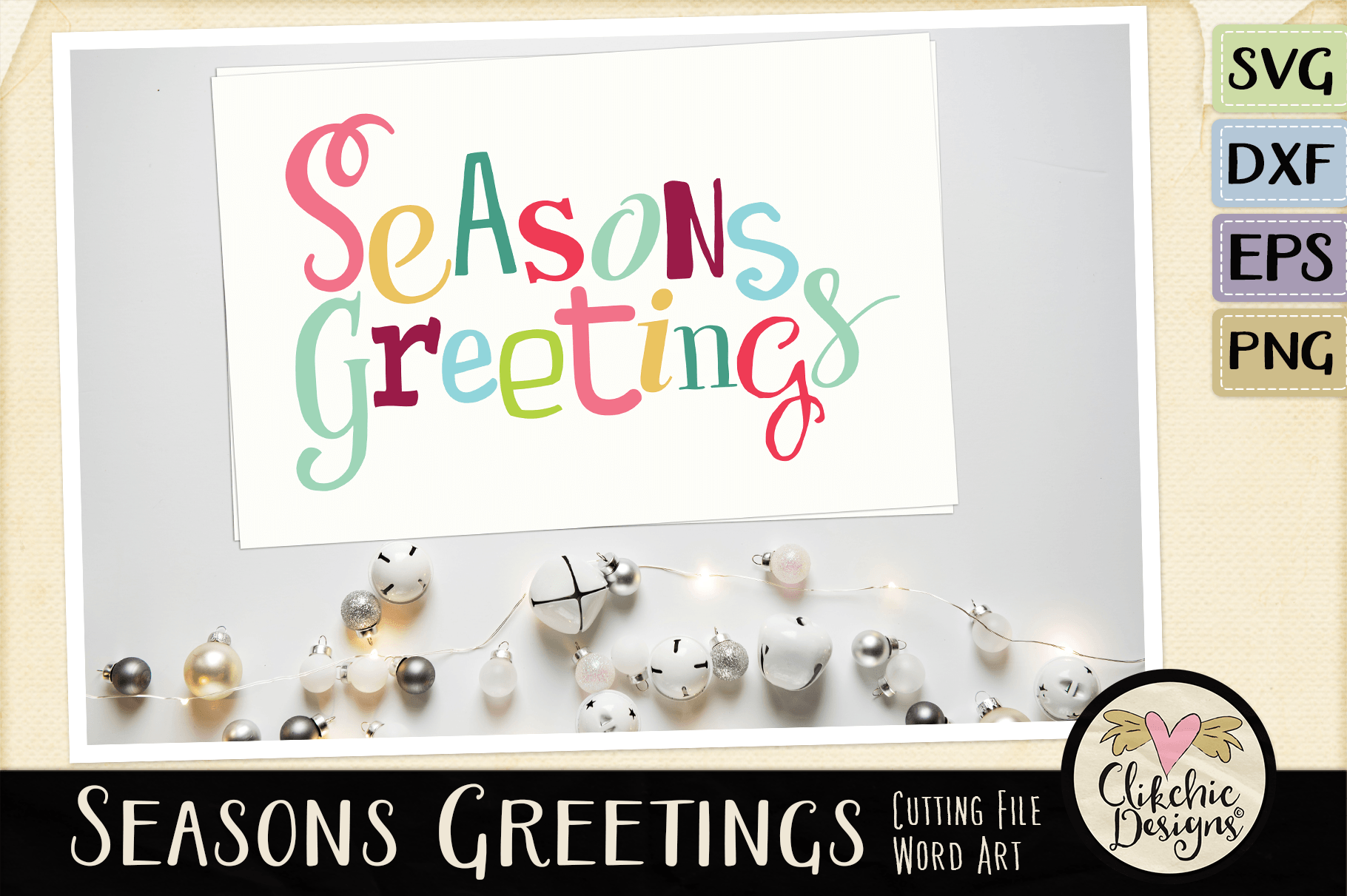 Chistmas SVG - Seasons Greetings Word Art & Vector Clipart example image 3