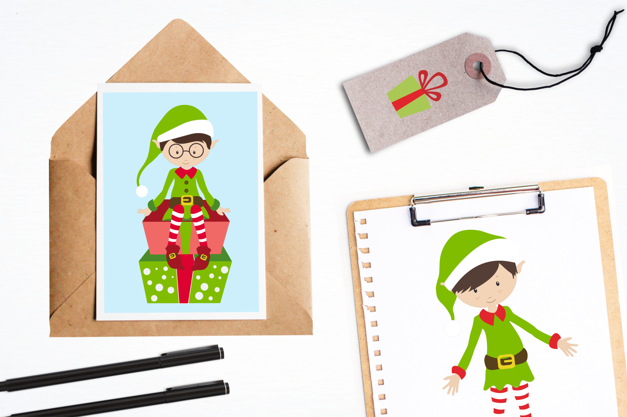 Elves and Gifts graphics and illustrations example image 4