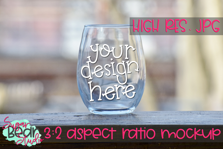 Stemless Wine Glass on Balcony Mockup example image 1
