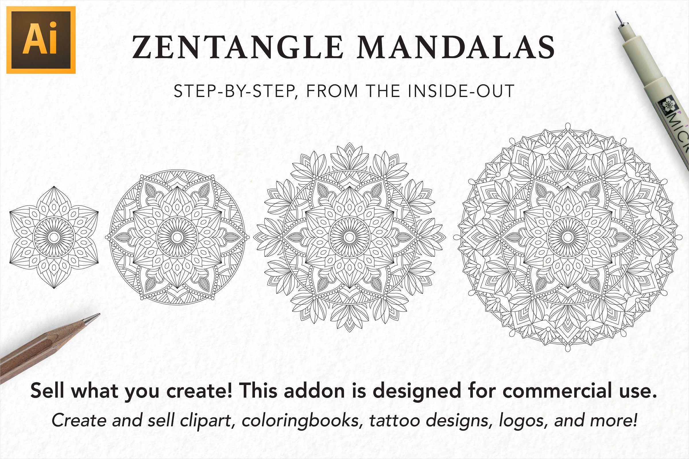 Zentangle Mandala Creator Addon for Illustrator example image 2