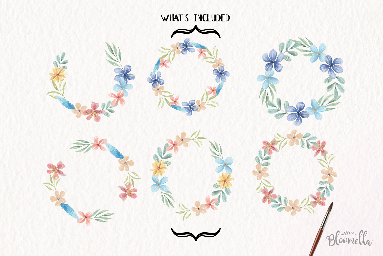 Floral 6 Wreath Watercolor Floral Ocean Blue Garlands Flower example image 5