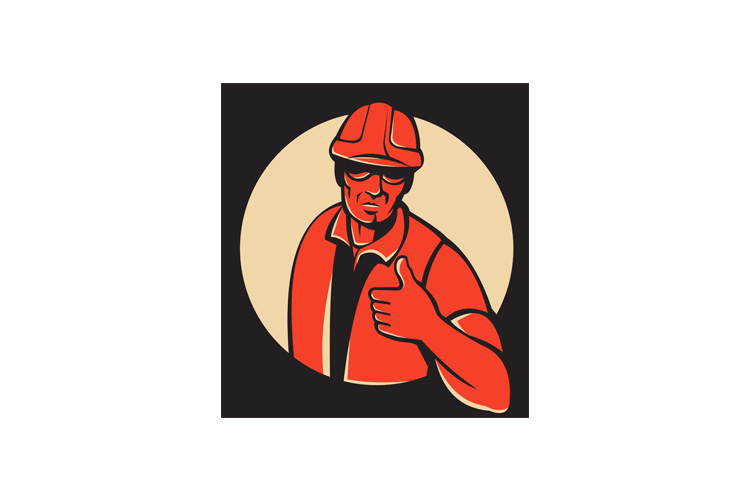 construction worker thumb up retro example image 1