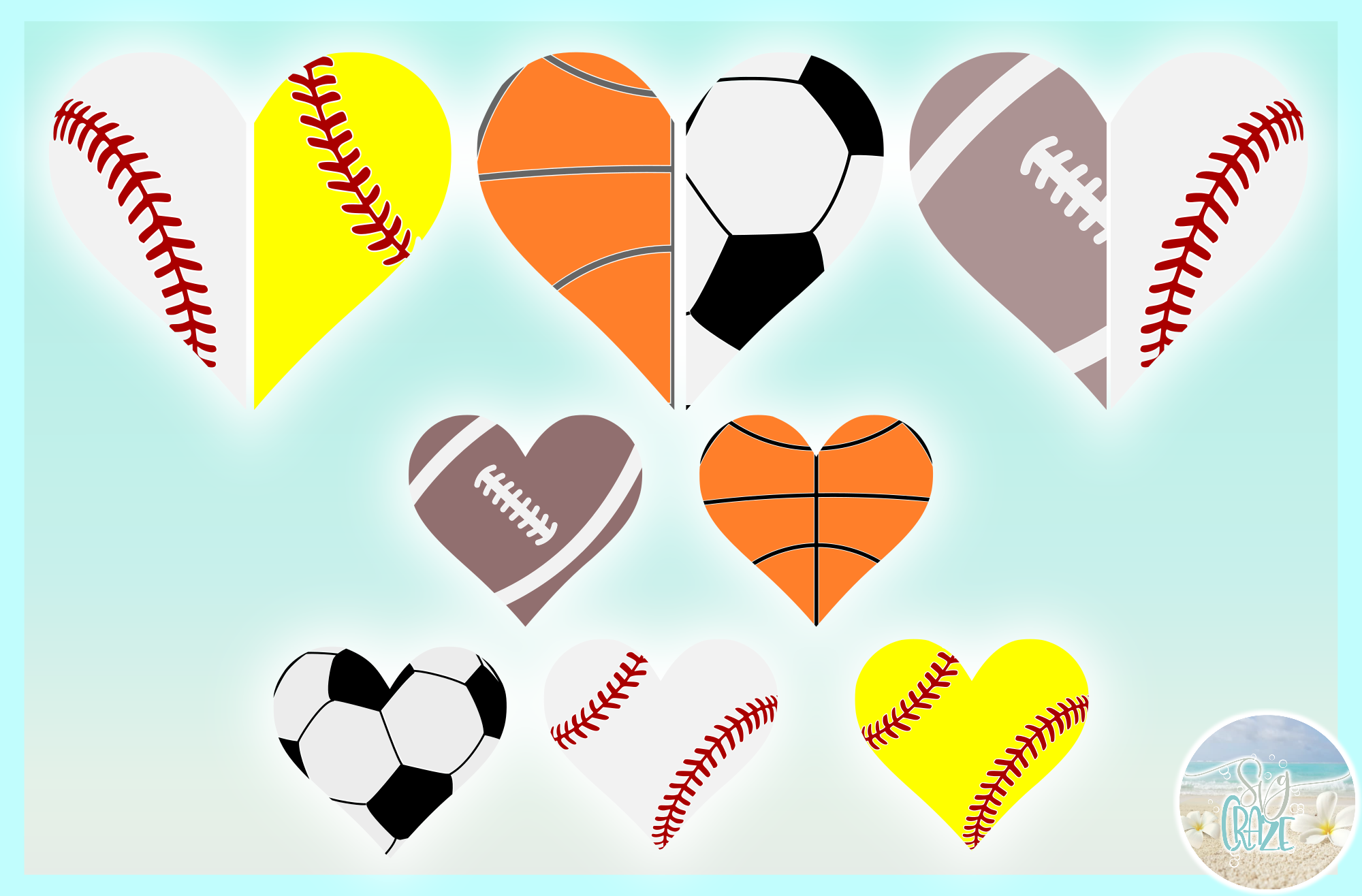 Proud Sports Mom Dad Half Heart Bundle SVG Dxf Eps Png PDF example image 3