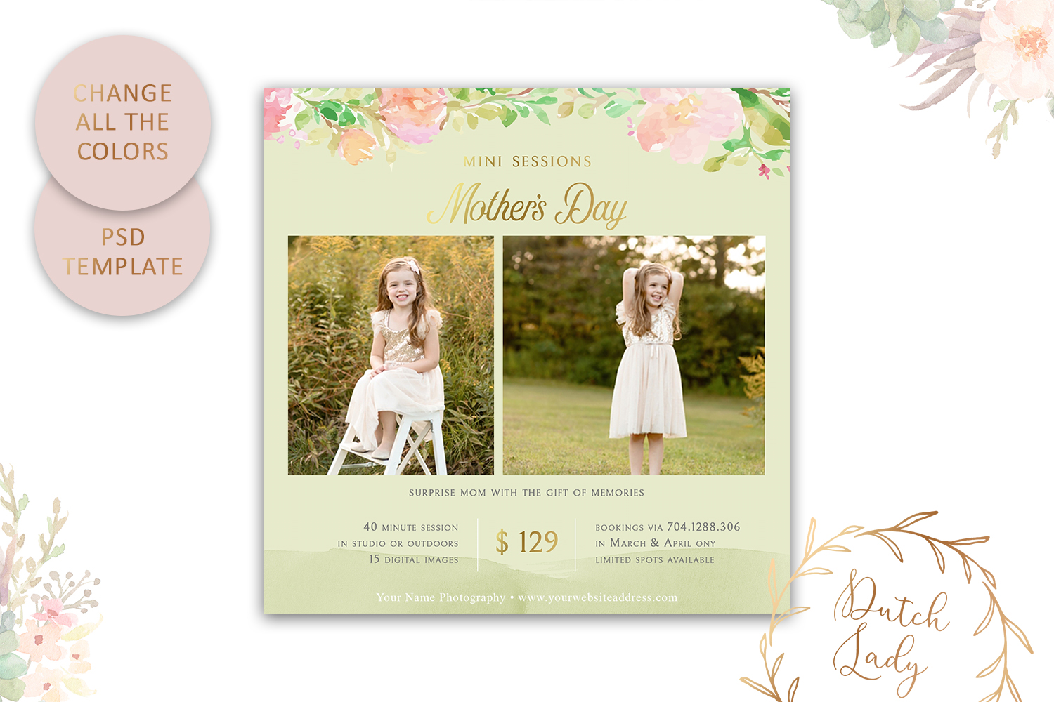 PSD Photo Mother's Day Mini Session Card Template - #41 example image 3