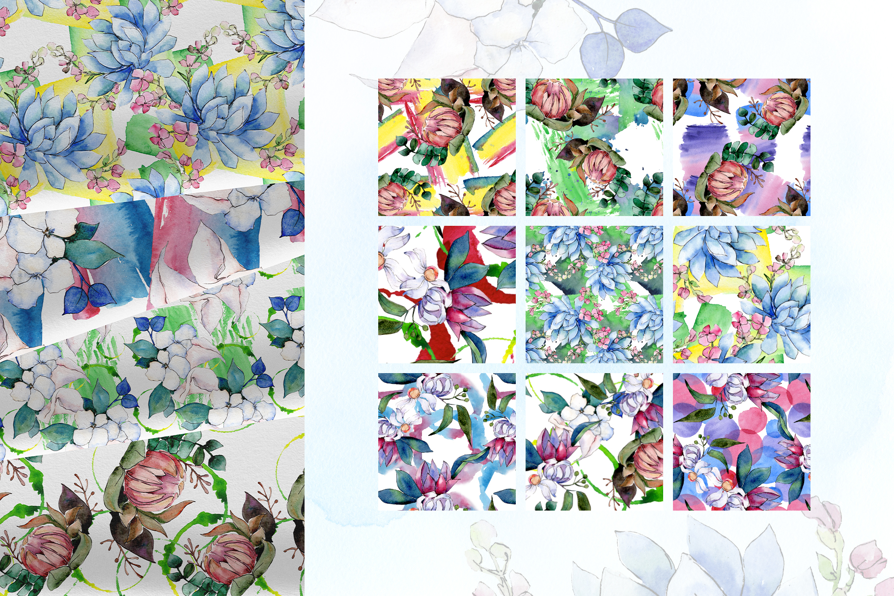 Bouquet of flowers bloom watercolor png example image 6
