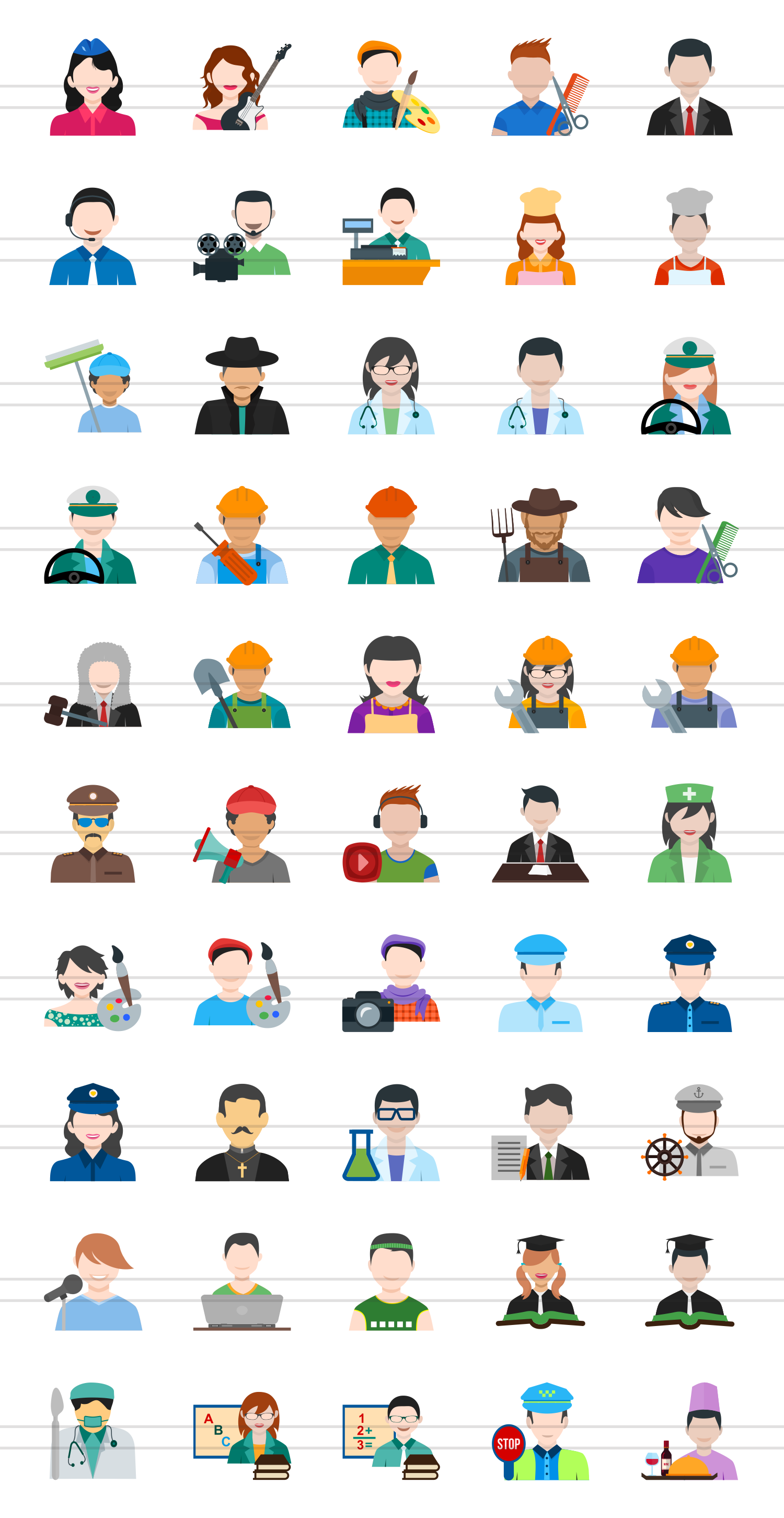 50 Professionals Flat Multicolor Icons example image 2
