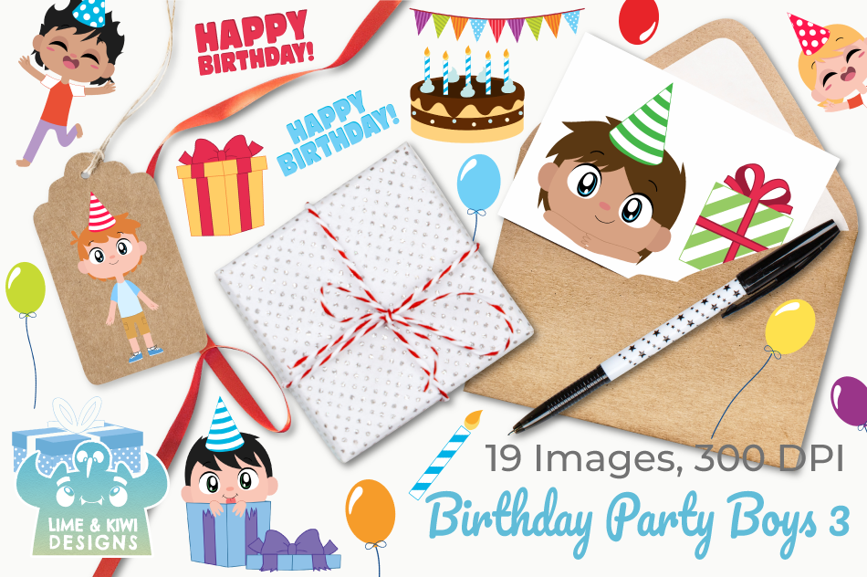 Birthday Party Boys 3 Clipart, Instant Download Vector Art example image 4