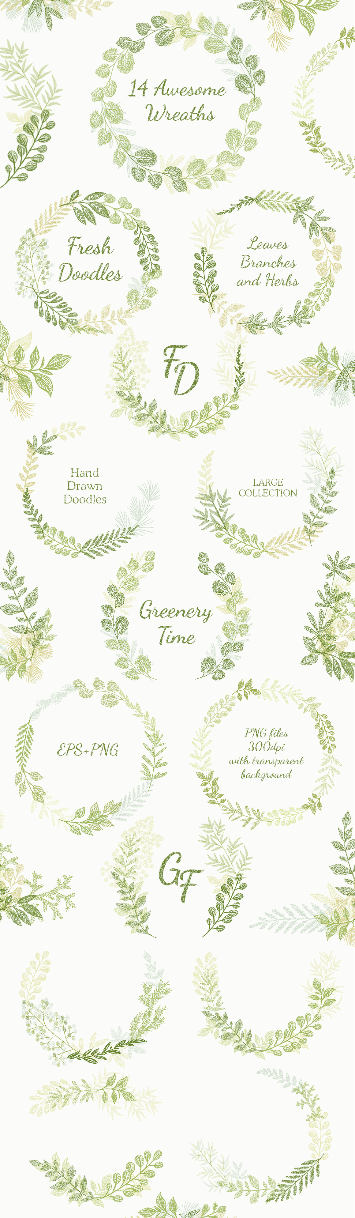 Hand drawn Leaves Branches & Herbs Fresh Doodle collection example image 3