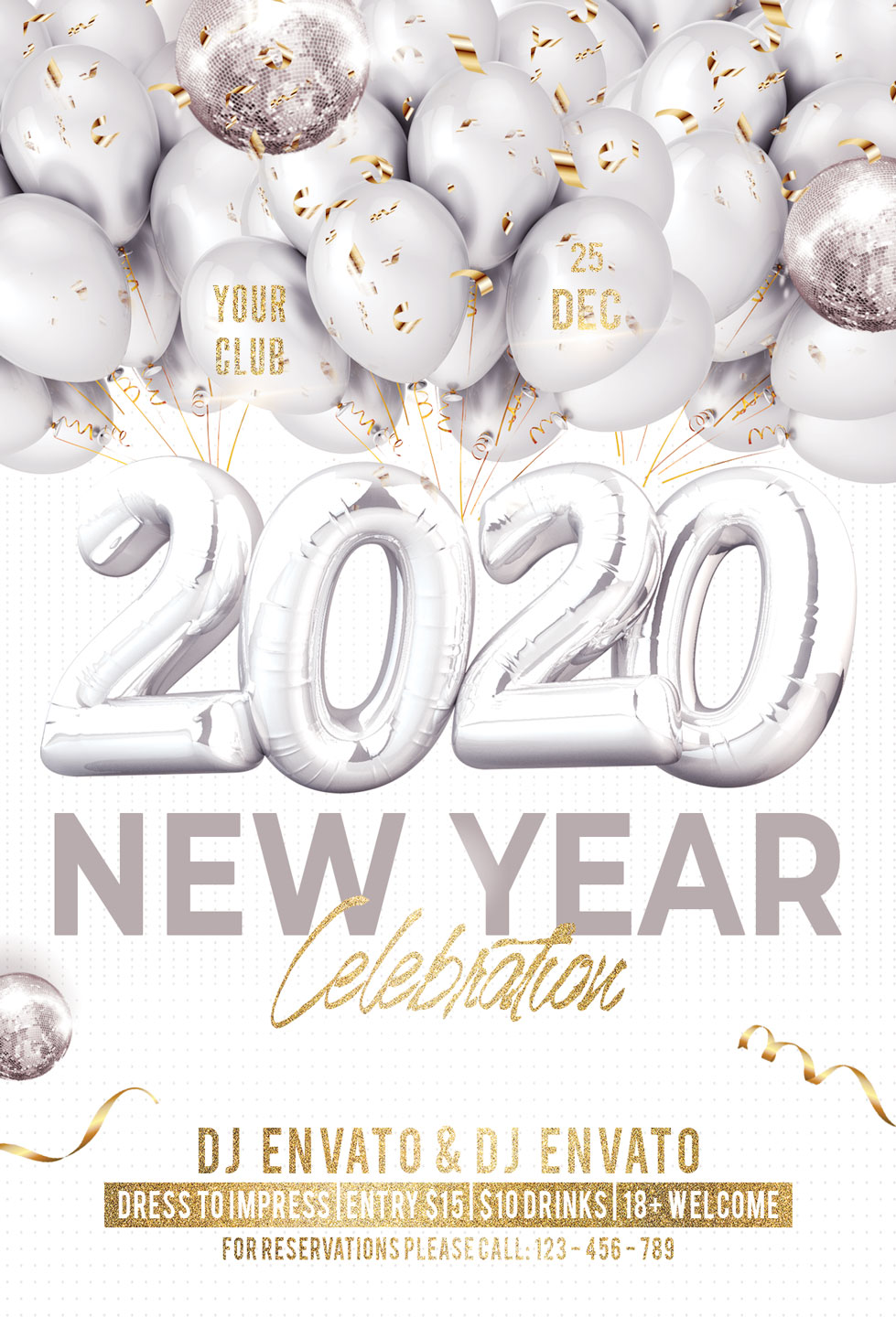 New Year Christmas Party Flyer example image 3