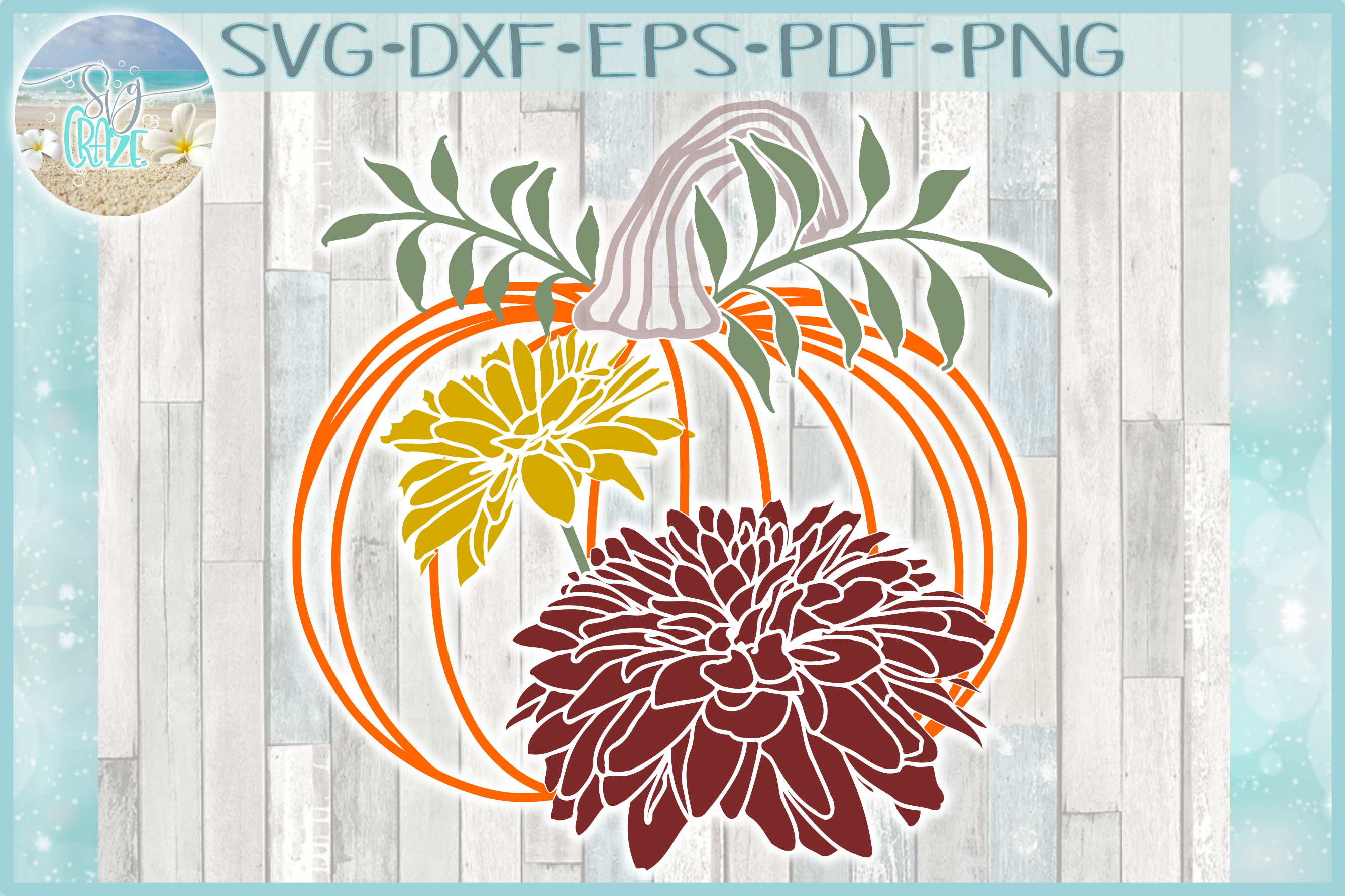 Pumpkin with Leaves and Mums SVG example image 1