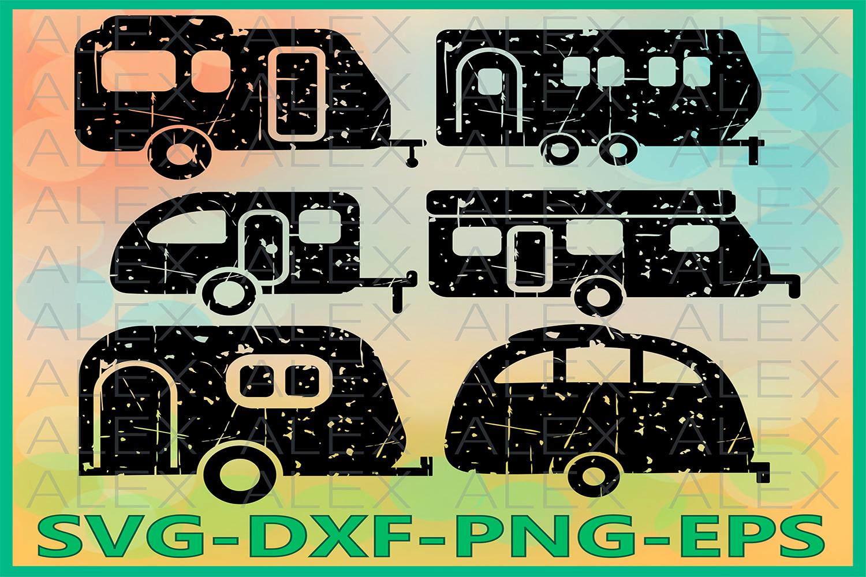Camper Grunge SVG, Camping Svg, Camper Silhouette example image 1