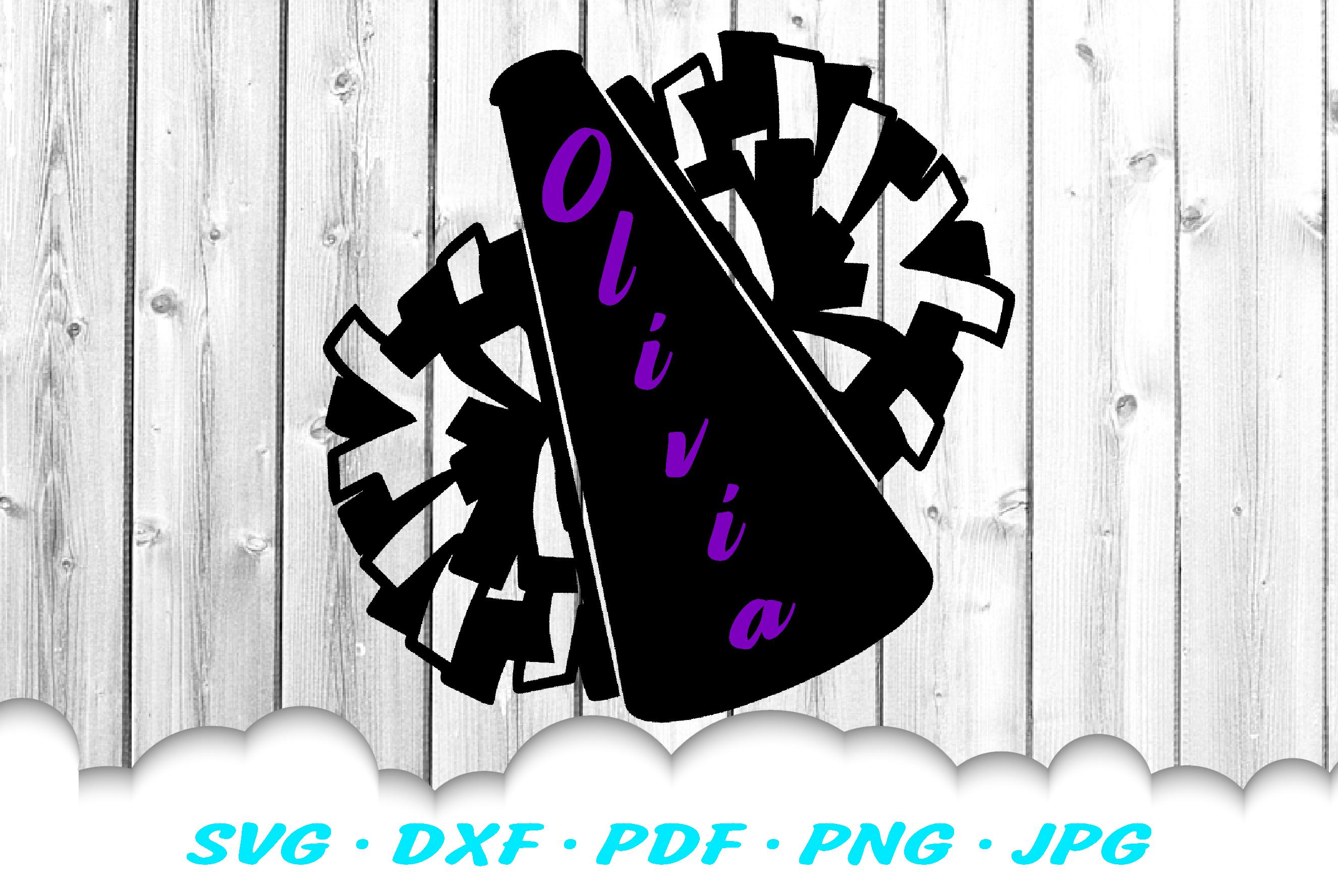 Cheerleader Cheer Megaphone Poms SVG DXF Cut Files example image 1