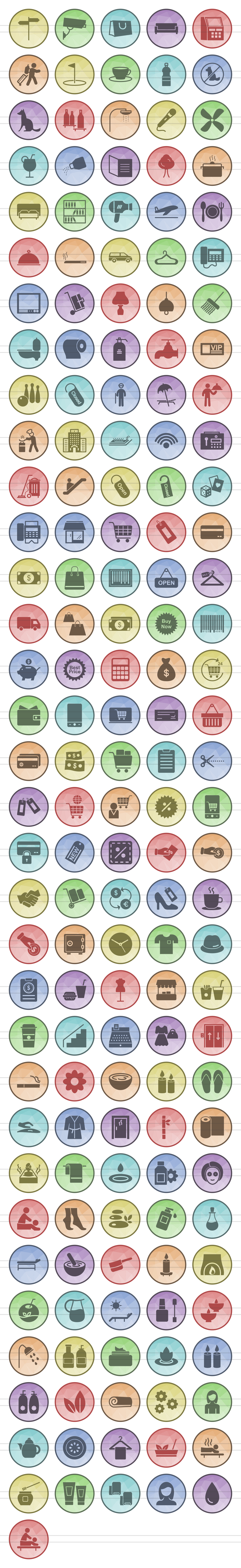166 Hotel & Relaxation Filled Low Poly Icons example image 2