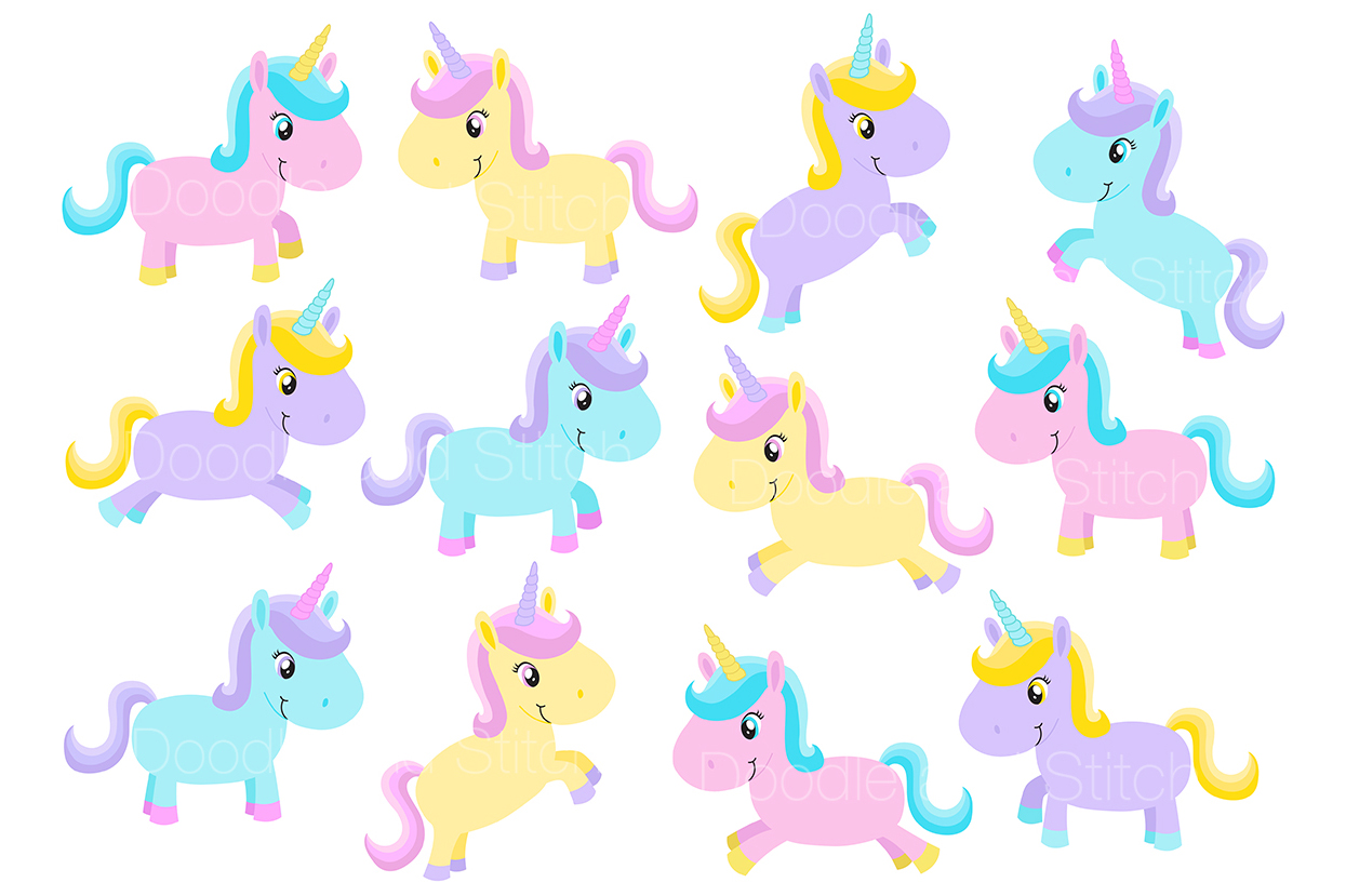 Cute Unicorn Clipart Illustrations example image 2