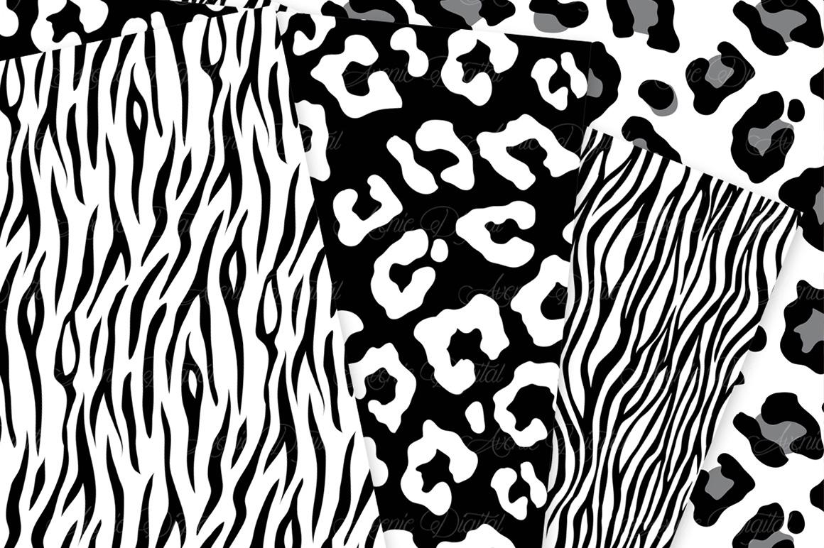 Black Animal Print Vector Patterns -  Black and White Safari Seamless Digital Papers example image 4