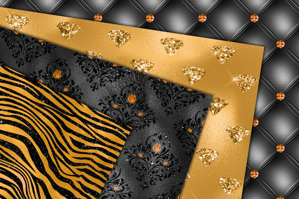 Orange and Black Glam Textures example image 2