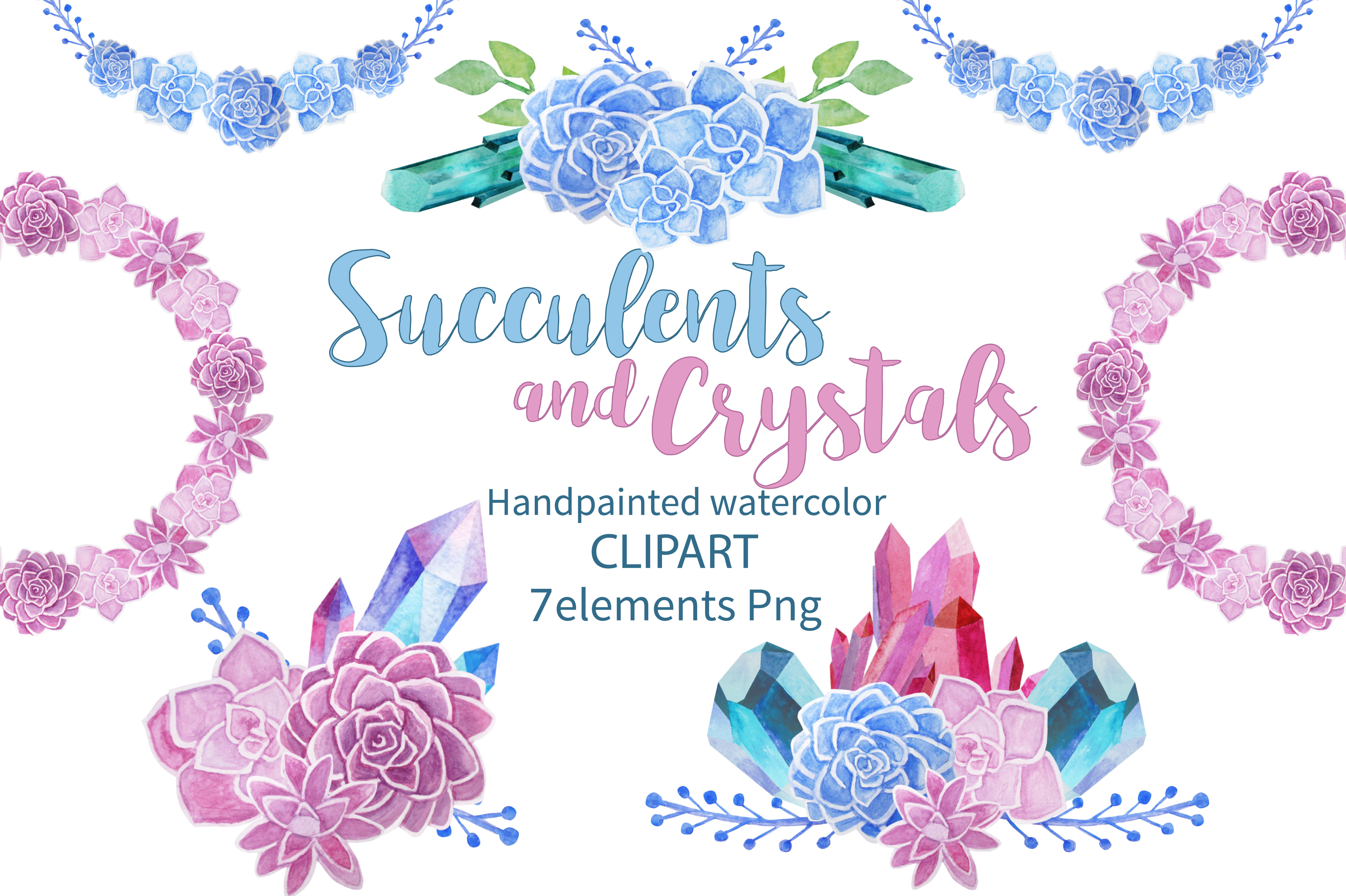 Succulents and Crystals Watercolor example image 1