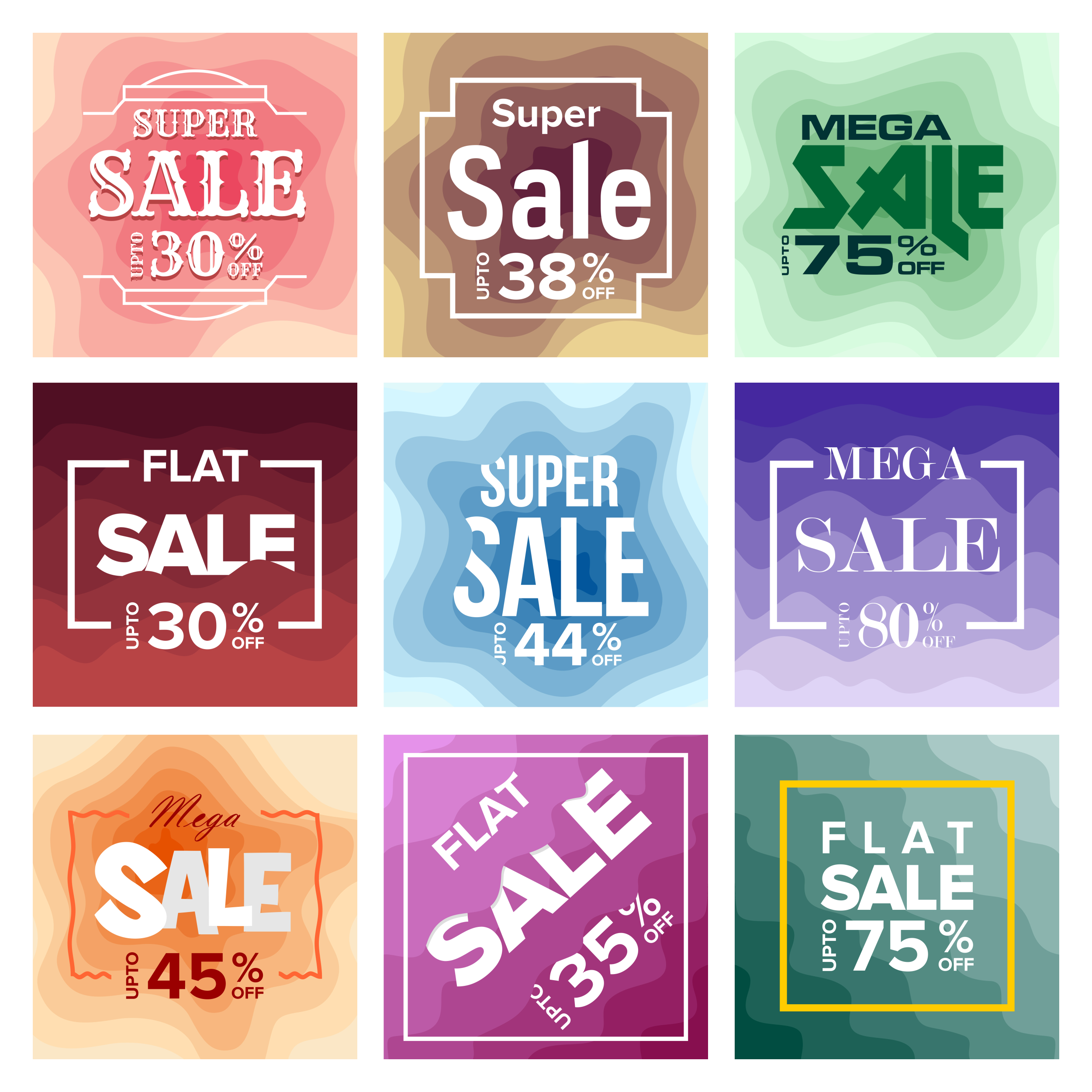 Sale Banner Colorful Paper Art Abstract Background example image 2
