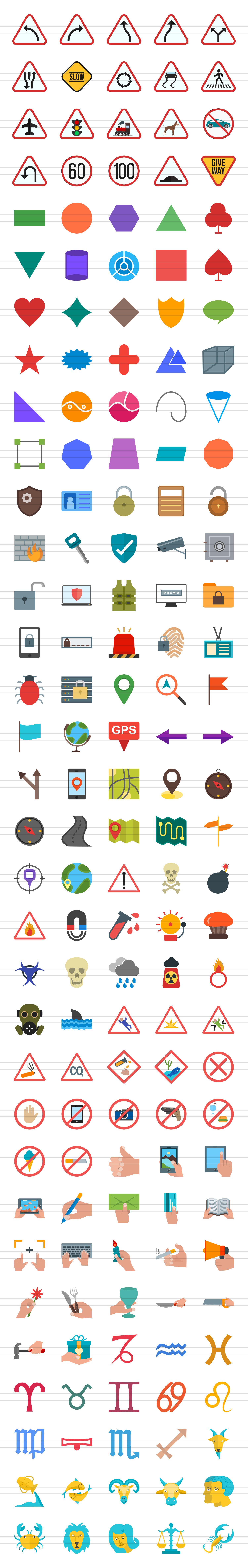 166 Sign Flat Icons example image 2