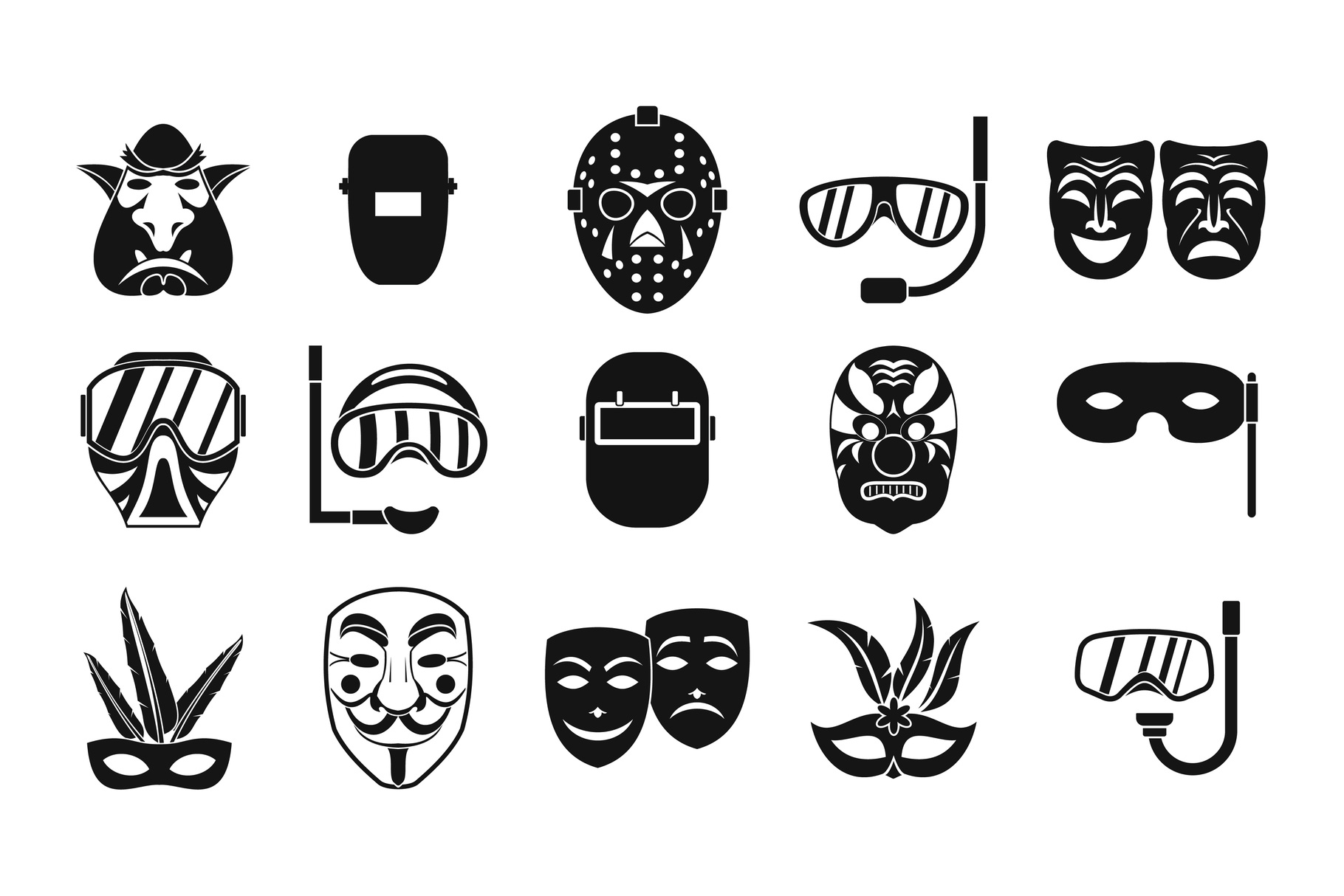 Mask icon set, simple style example image 1