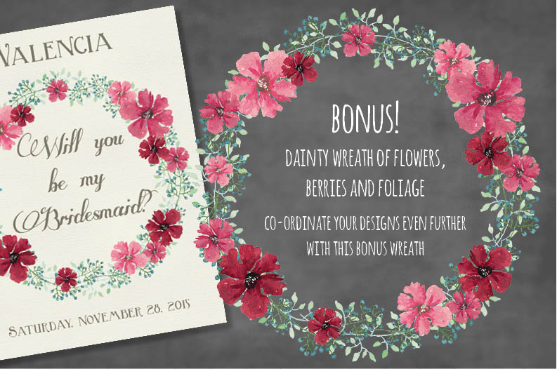 Watercolor floral wreath: Pink profusion example image 4