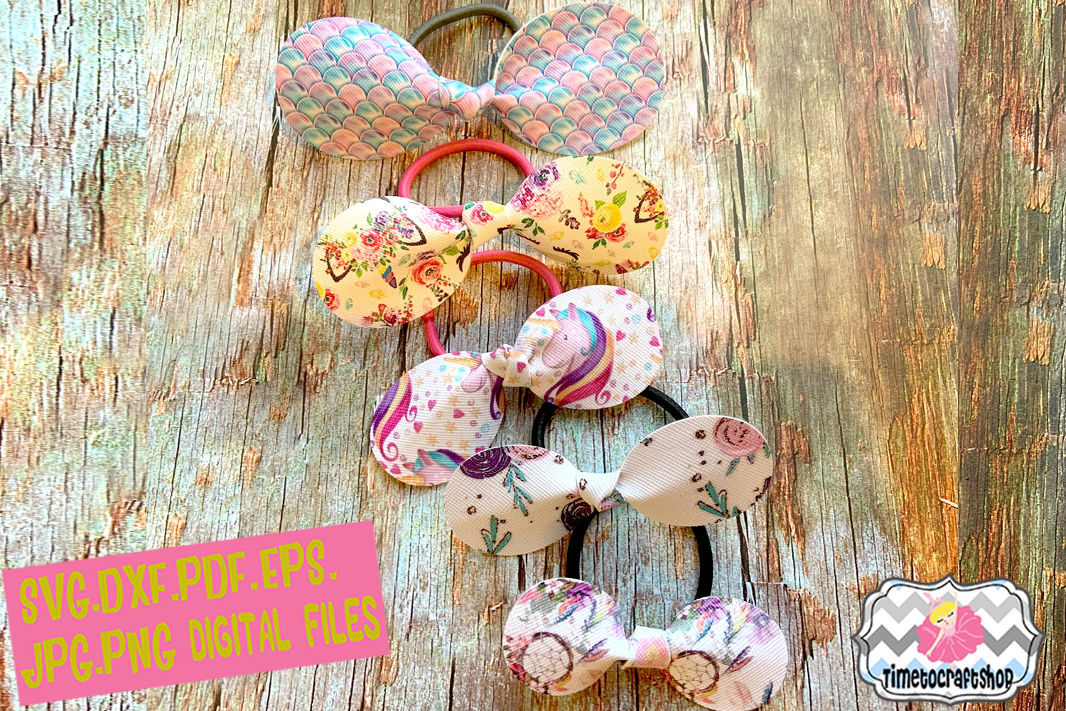 5 Assorted Sizes Knot Round Bow Hair Tie Template example image 1