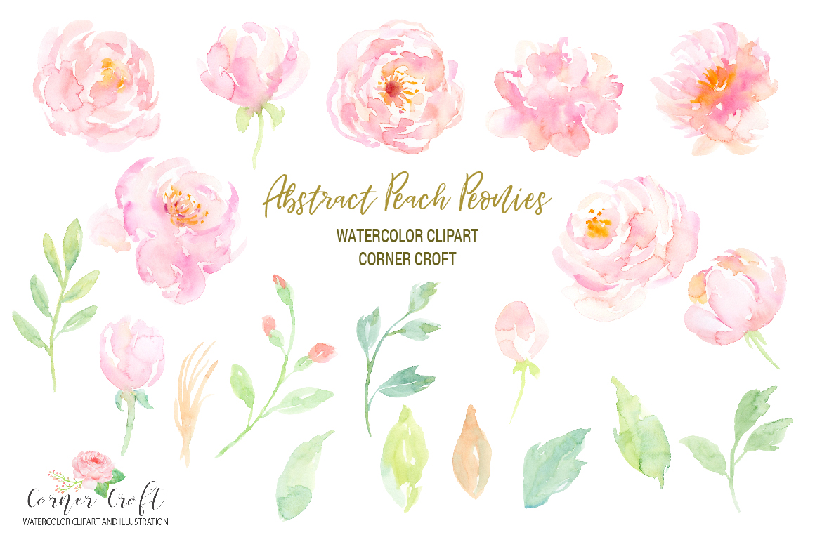 Watercolour Peach Peony Illustration example image 2