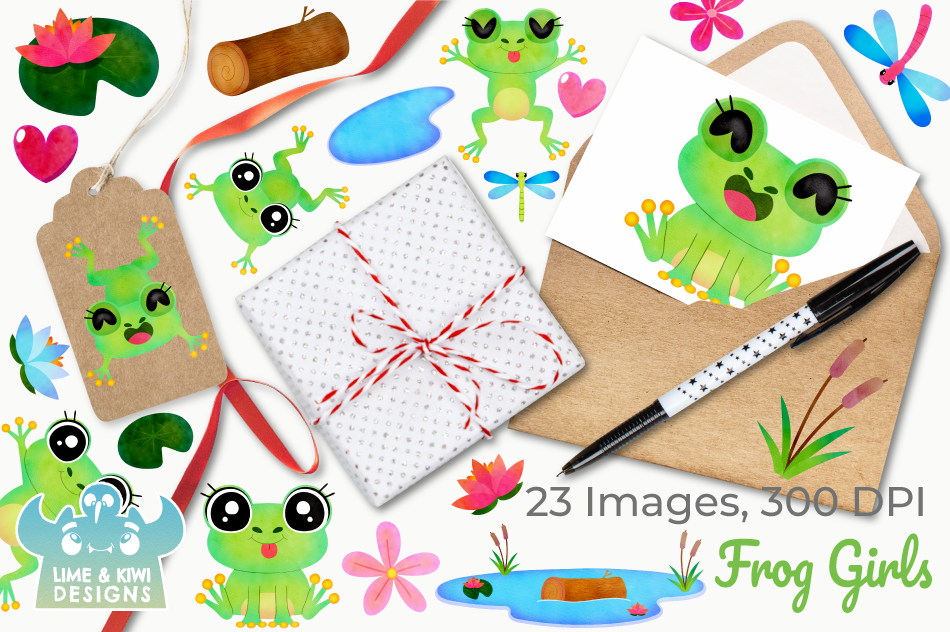 Frog Girls Watercolor Clipart, Instant Download Vector Art example image 4