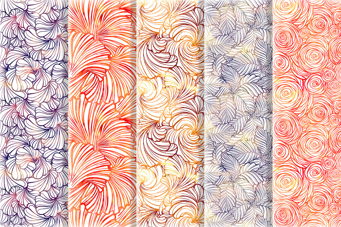 Floral seamless patterns set #2 example image 4