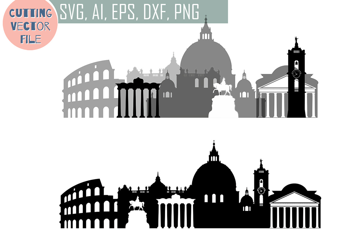 Rome Skyline Vector, Italy  SVG, JPG, PNG, DWG, CDR, EPS, AI example image 1