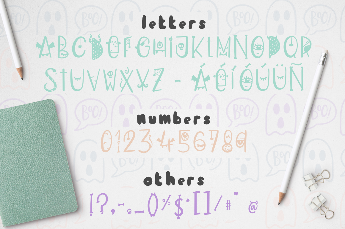 Dark font patterns, brushes and more! example image 2
